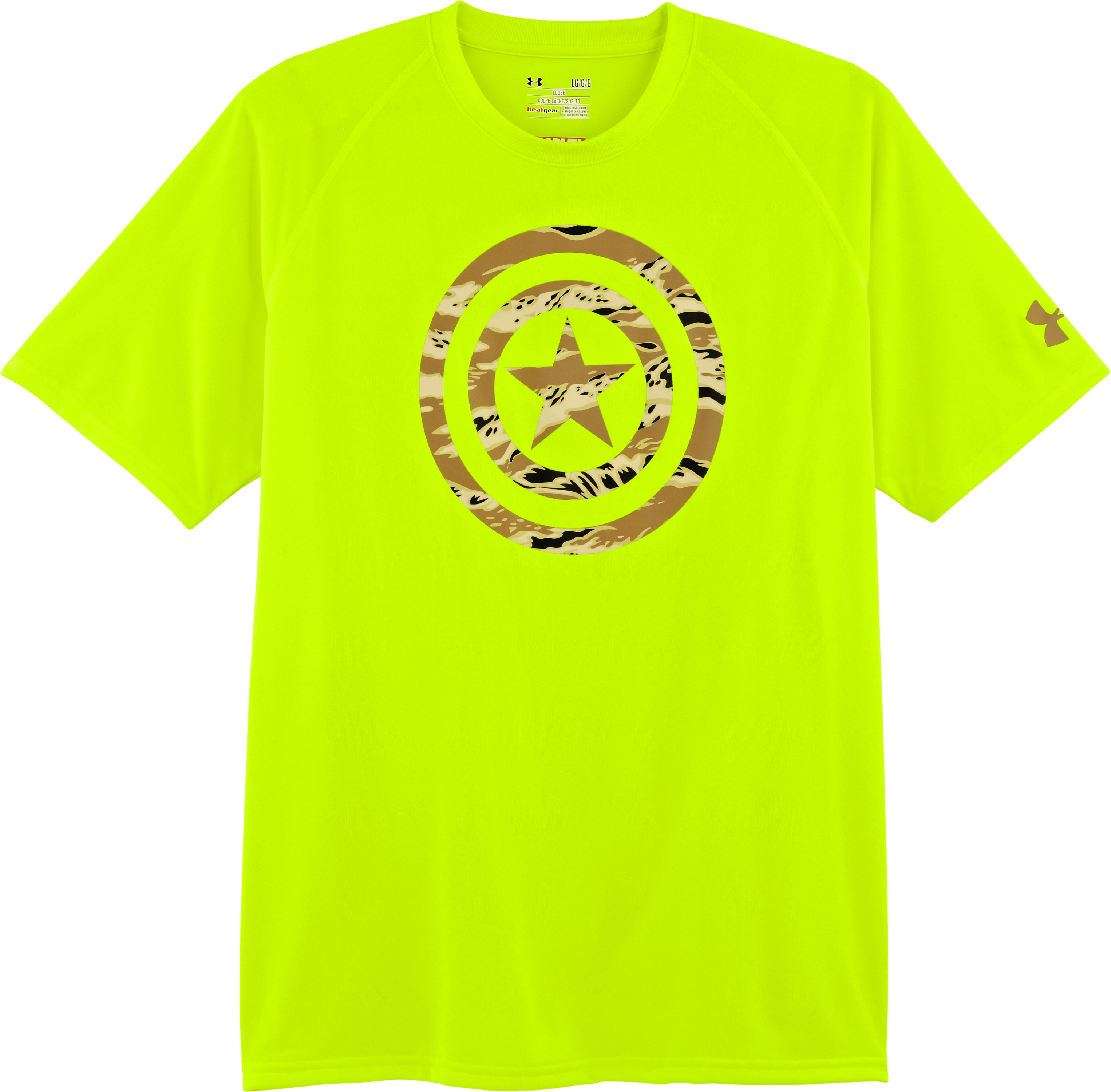 Men's Under Armour® Alter Ego Camo Captain America T-Shirt, High-Vis Yellow, Laydown