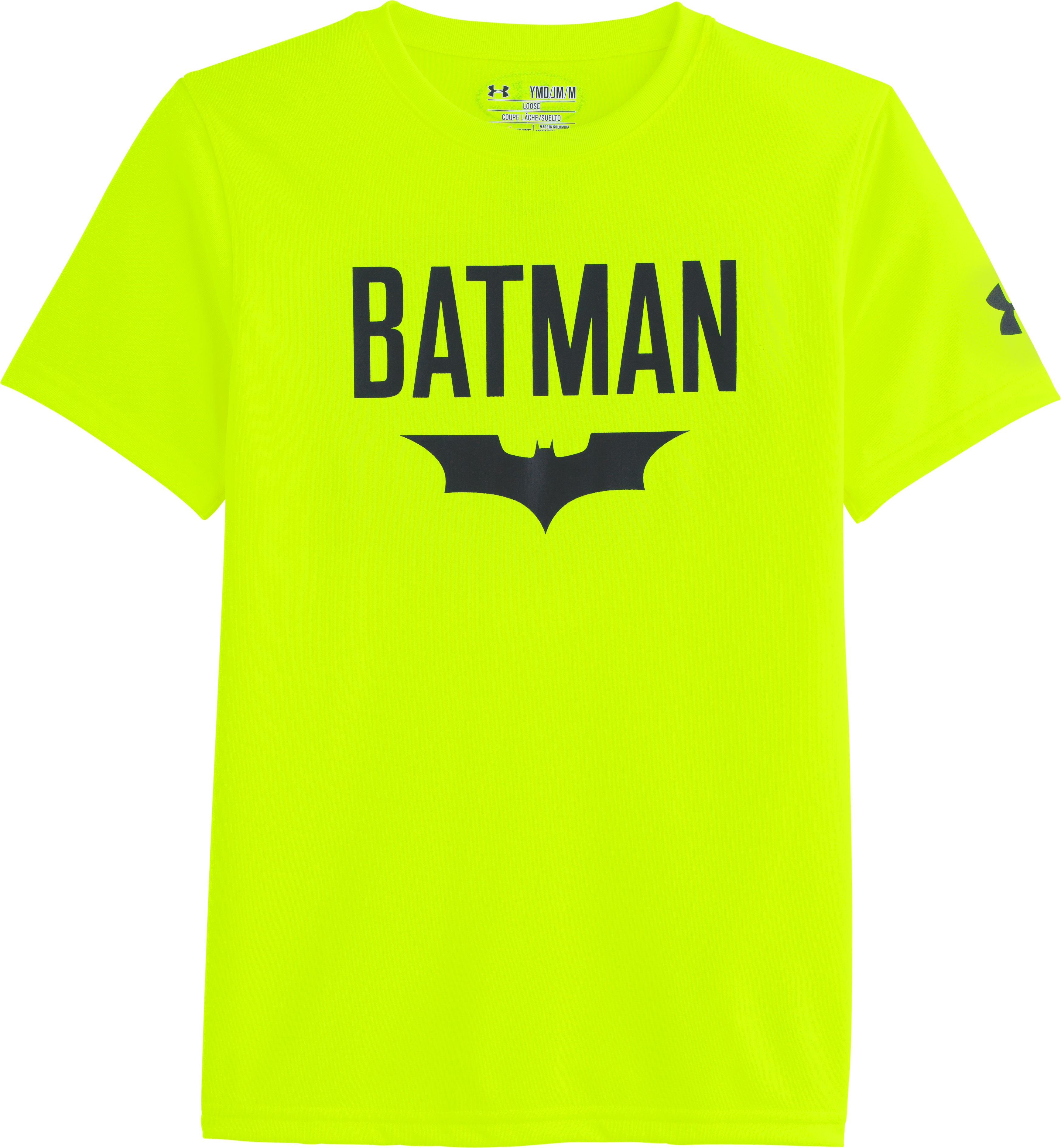 Boys' Under Armour® Alter Ego Batman Cave T-Shirt, High-Vis Yellow, Laydown