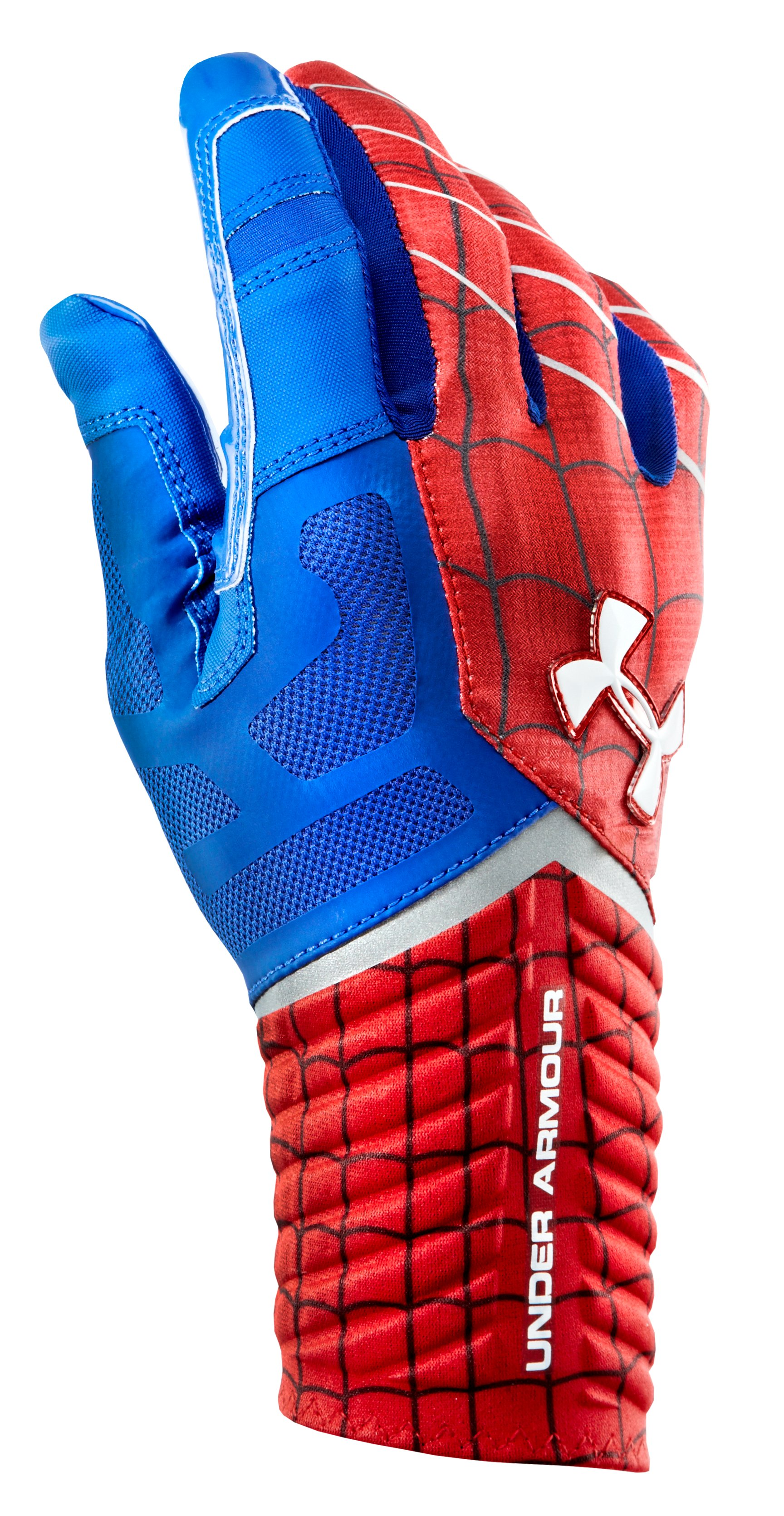 Men's Under Armour® Alter Ego Spider-Man Highlight Football Gloves, Red, zoomed image