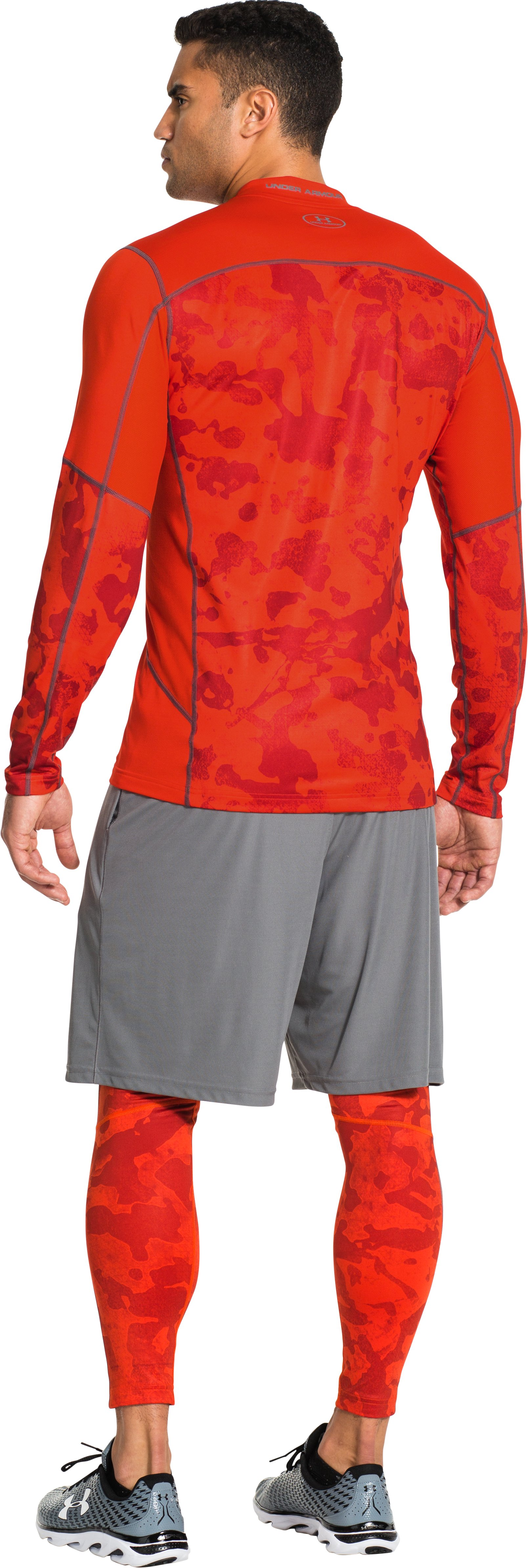 Men's UA ColdGear® Evo Fitted Hybrid Mock, Volcano, Back