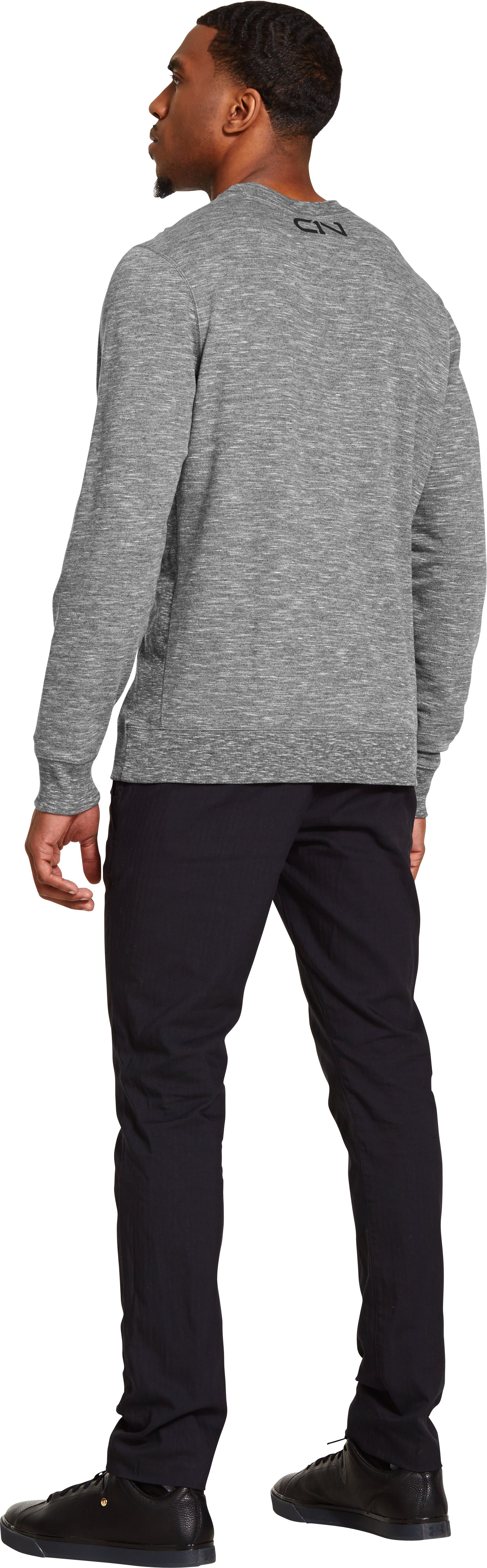 Men's UA Storm C1N Signature Crew, True Gray Heather, Back