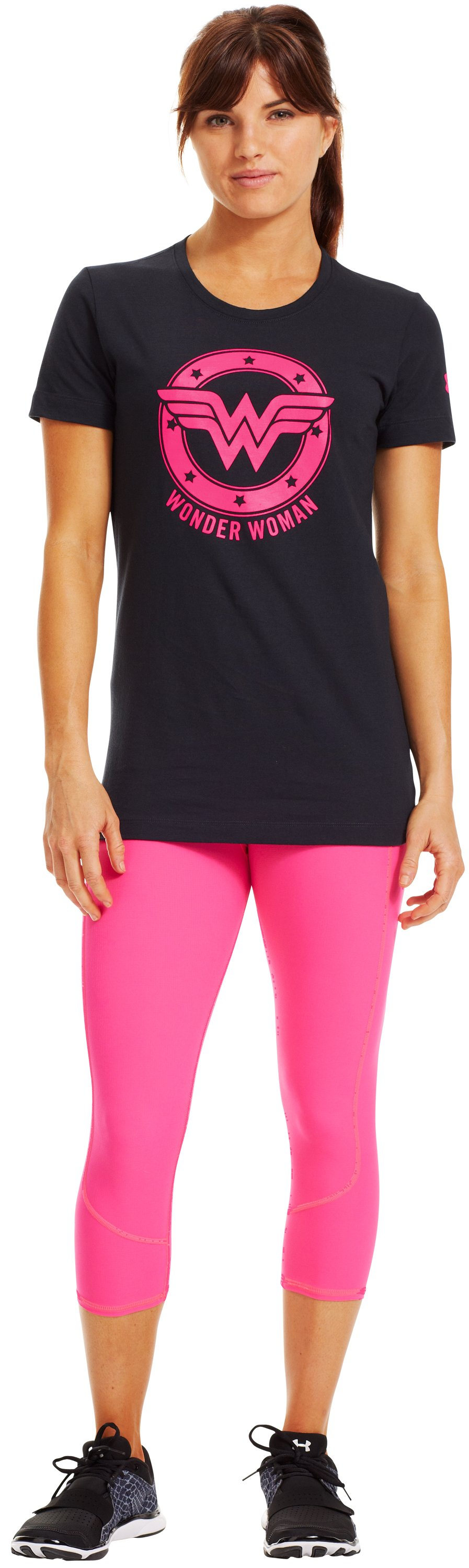 Women's UA Power In Pink®® Under Armour® Alter Ego Wonder Woman T-Shirt, Black , zoomed image