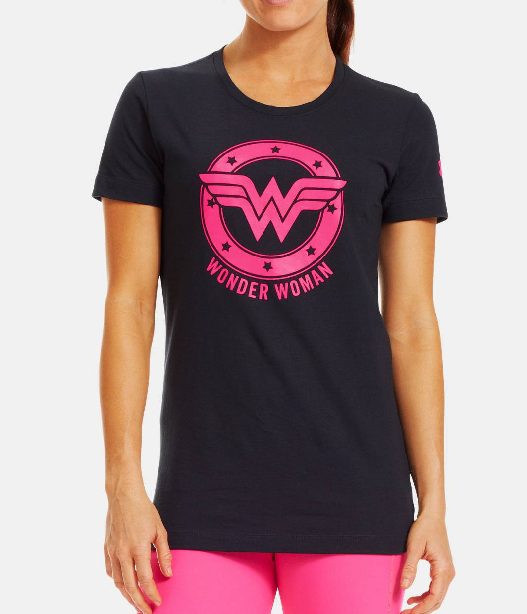 Women s ua power in pink under armour alter ego wonder for Wonder woman book shirt