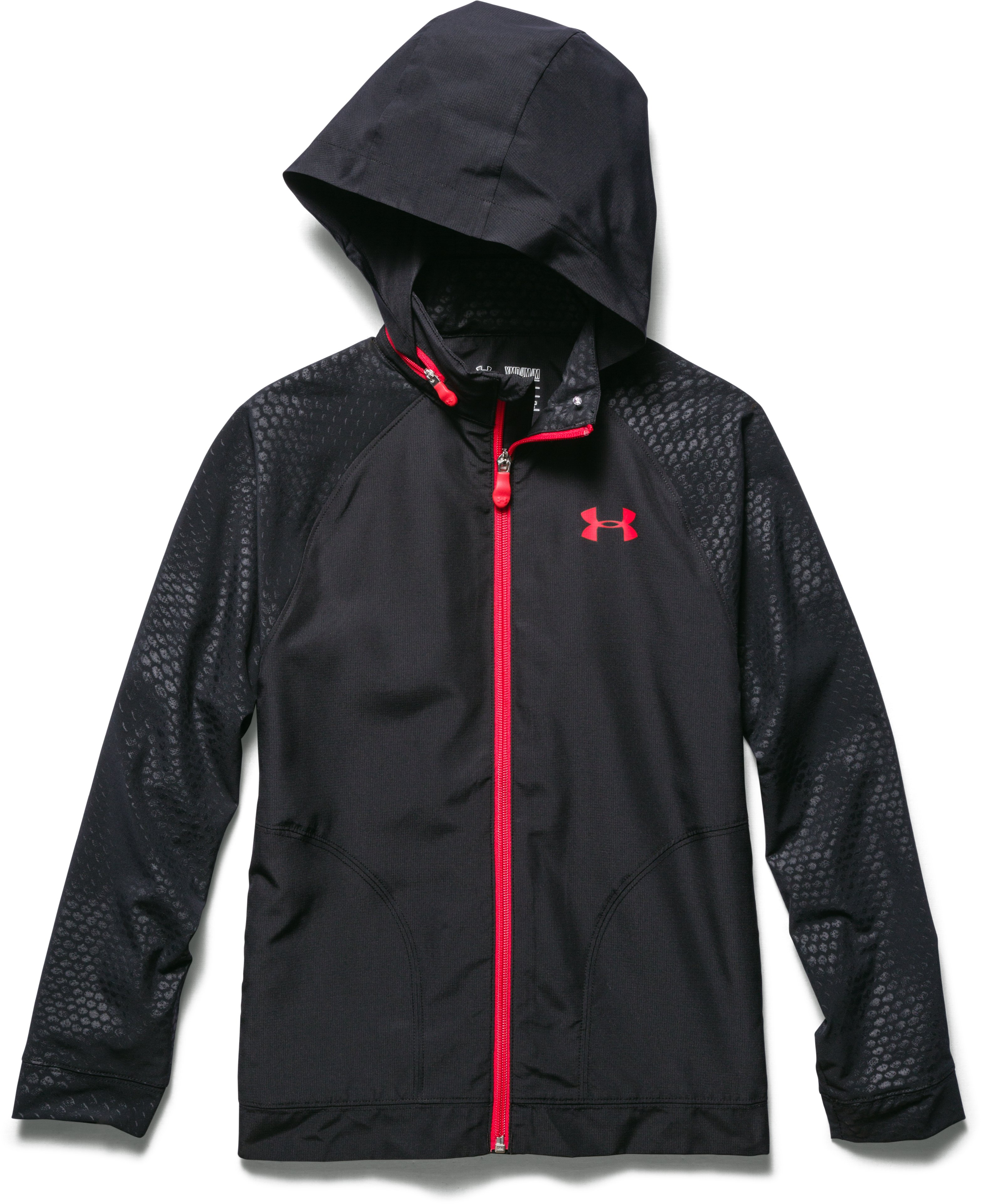 Boys' UA Front9 Wind Jacket, Black , zoomed image