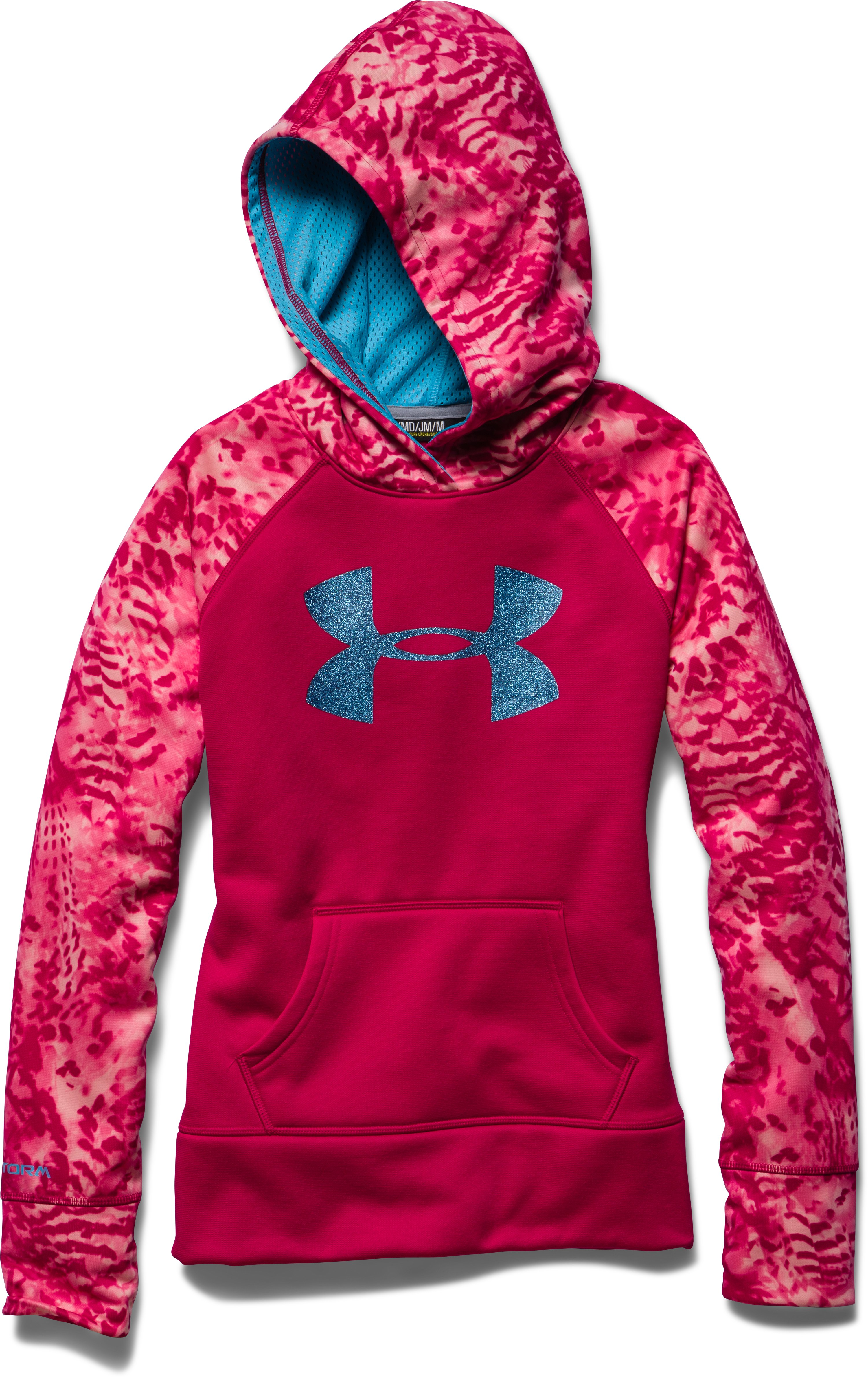 Girls' UA Big Logo Armour® Fleece Hoodie, Passion, Laydown