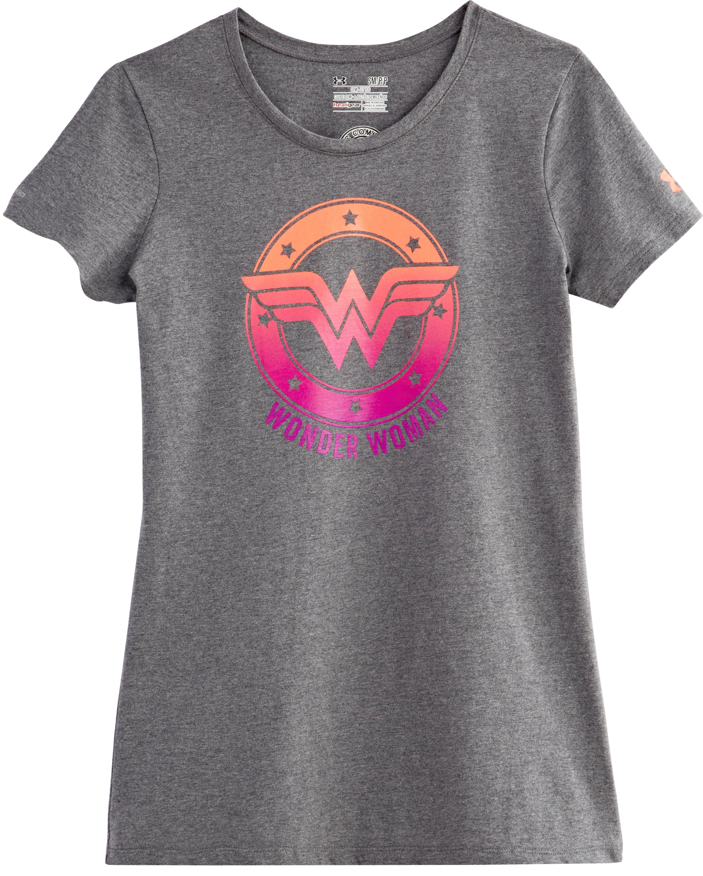 Women's Under Armour® Alter Ego Ombre Wonder Woman Semi-Fitted T-Shirt, Carbon Heather, Laydown