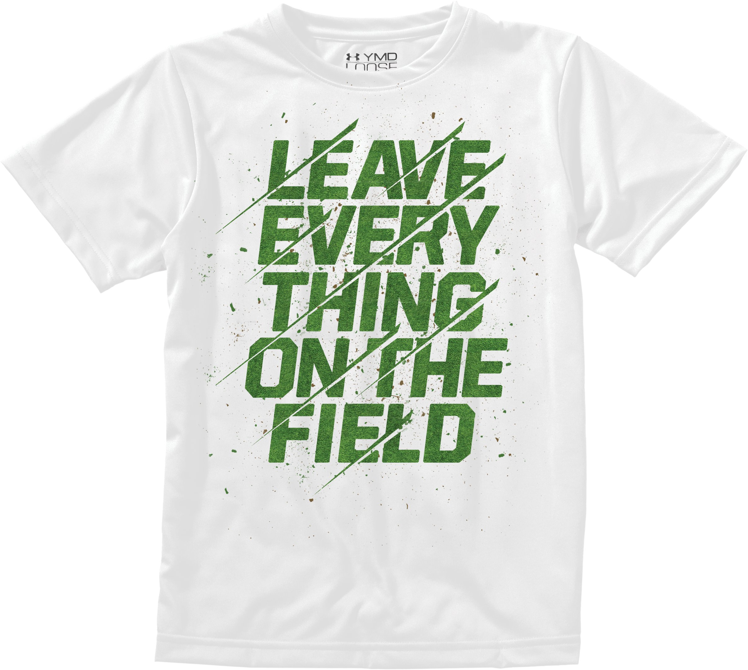 Boys' UA On The Field T-Shirt, White, Laydown