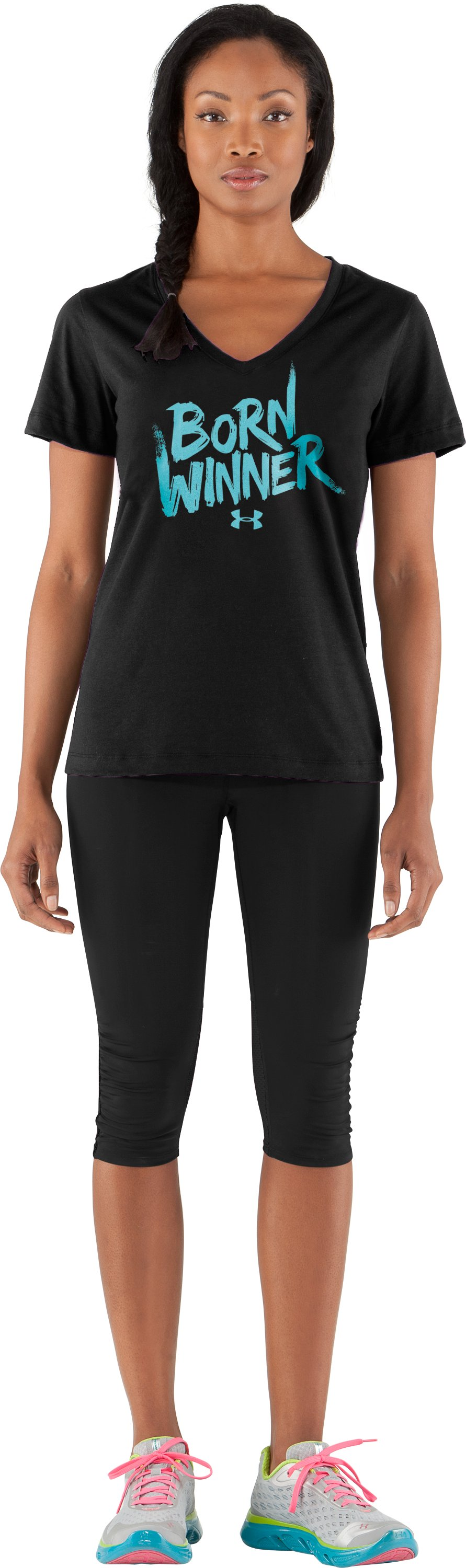 Women's UA Born Winner Graphic T-Shirt, Black , Front