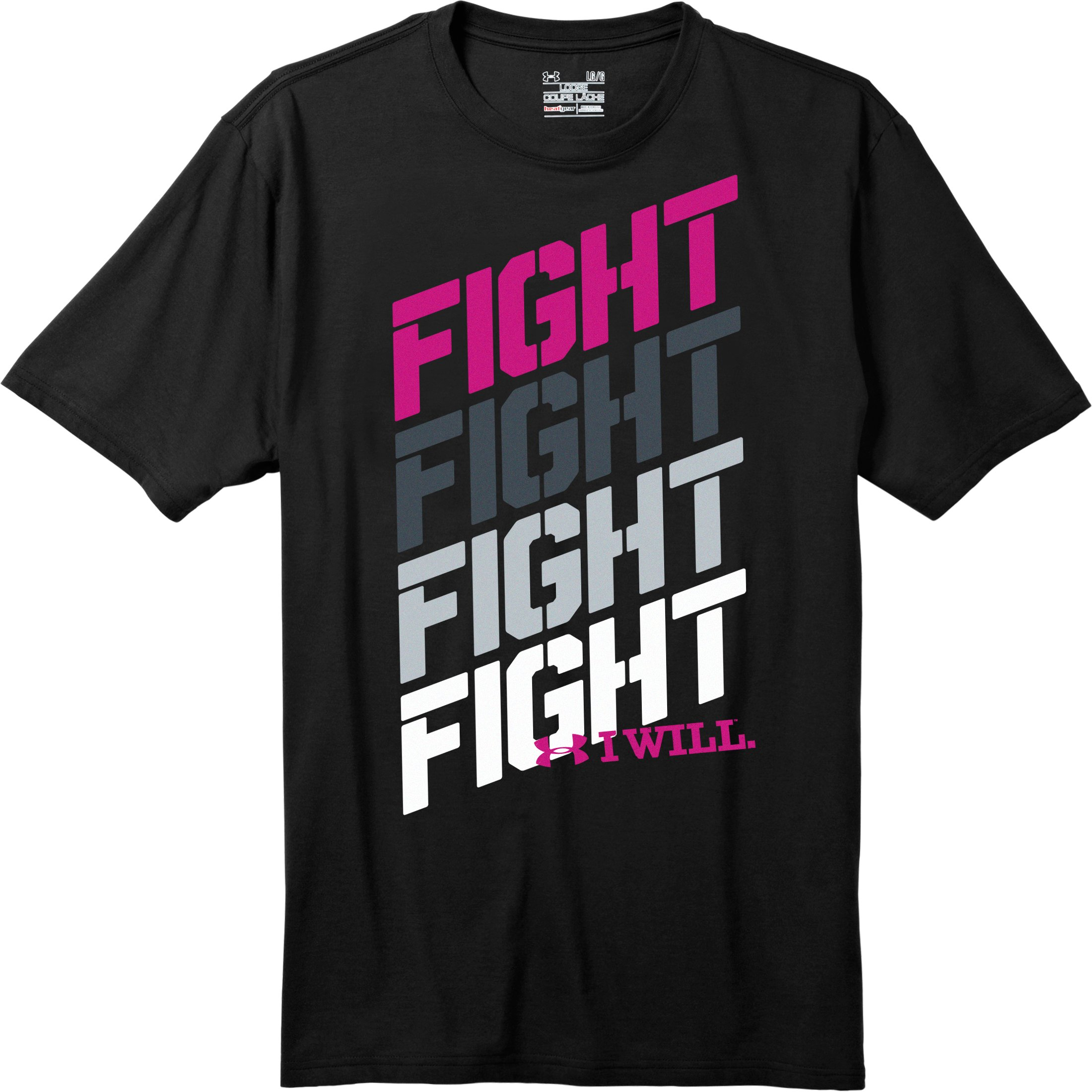 Men's UA Fight Fight Fight T-Shirt, Black , Laydown