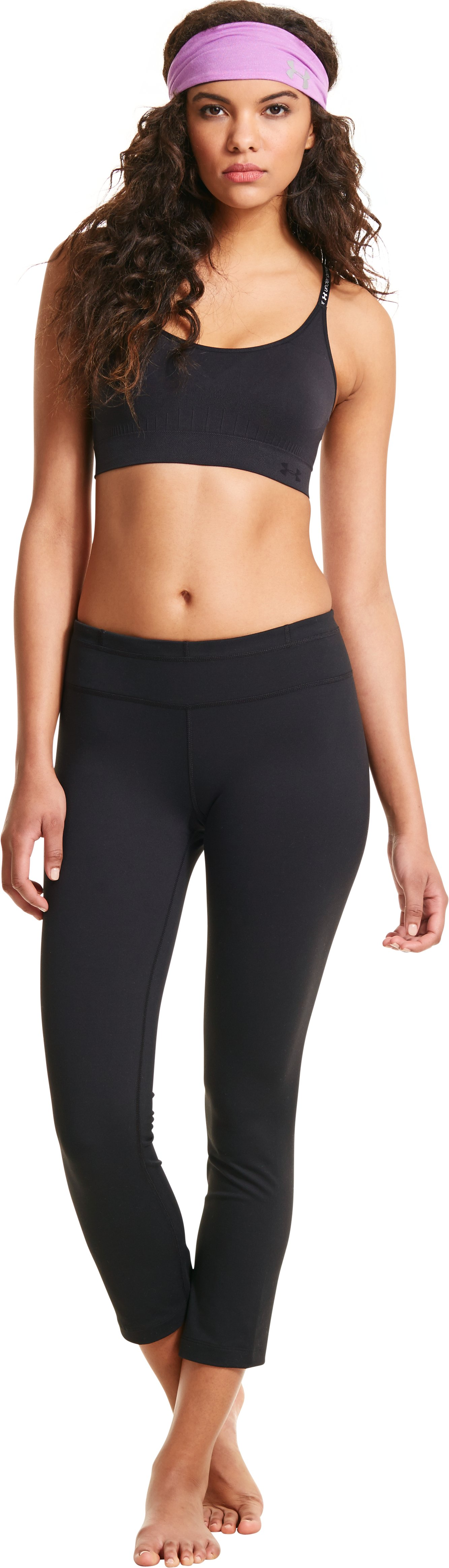 Women's UA StudioLux® Quattro Pencil Crop Pant, Black , Front