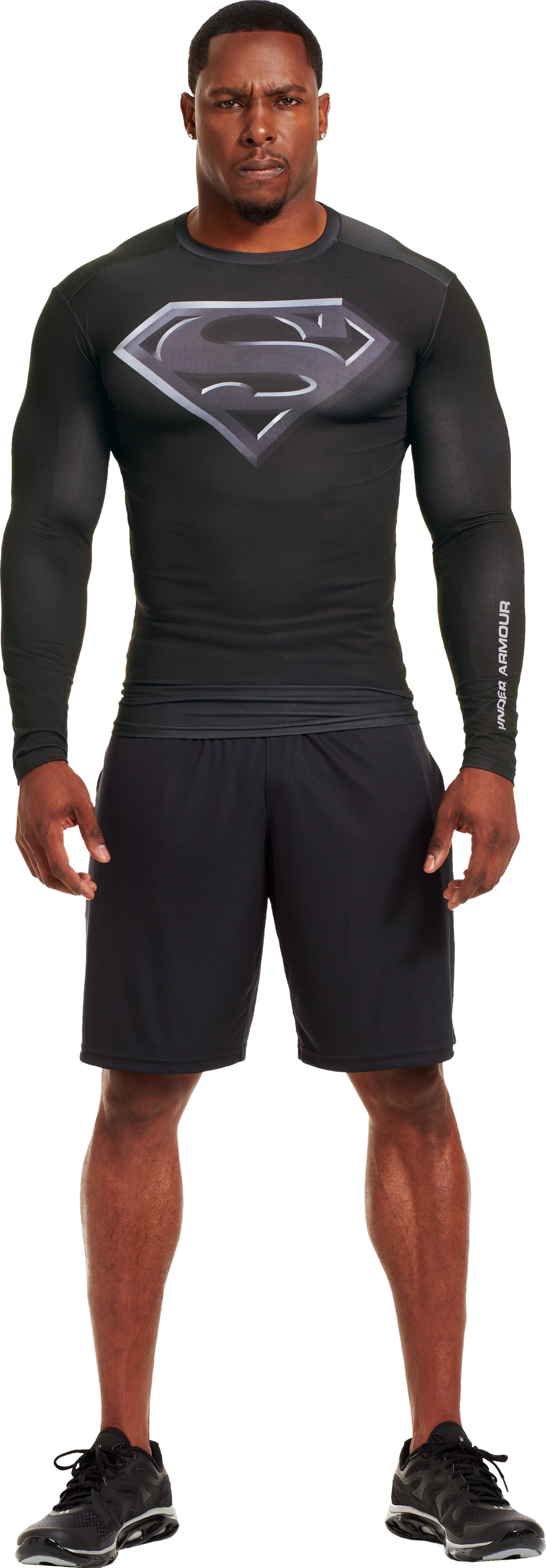 Men's Under Armour® Compression Long Sleeve Shirt, Black , Front