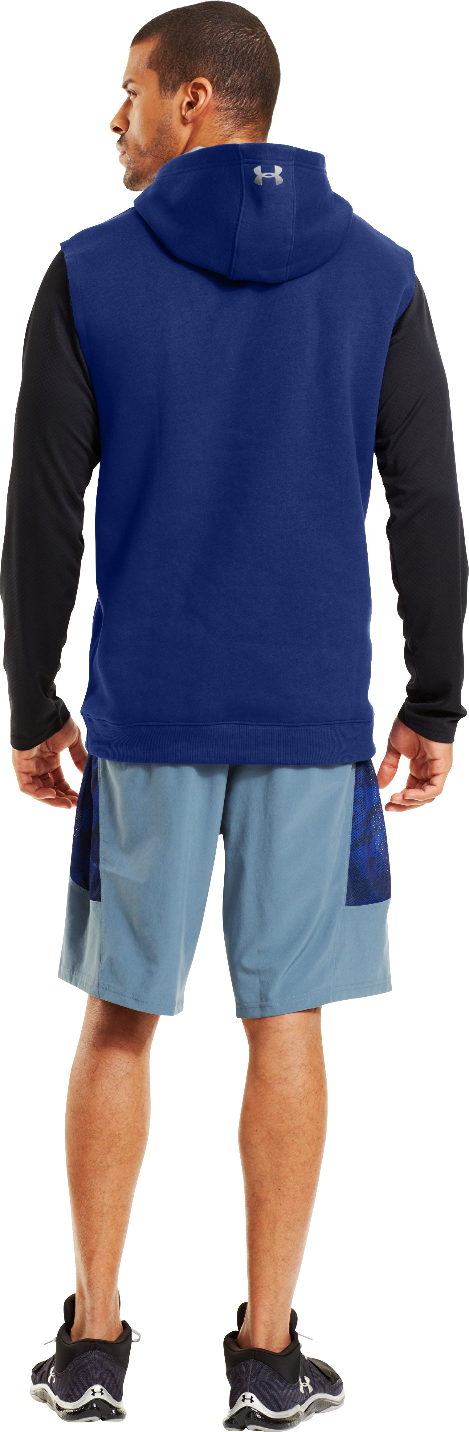 Men's UA Combine® Training Charged Cotton® Storm Sleeveless Hoodie, Bauhaus Blue, Back