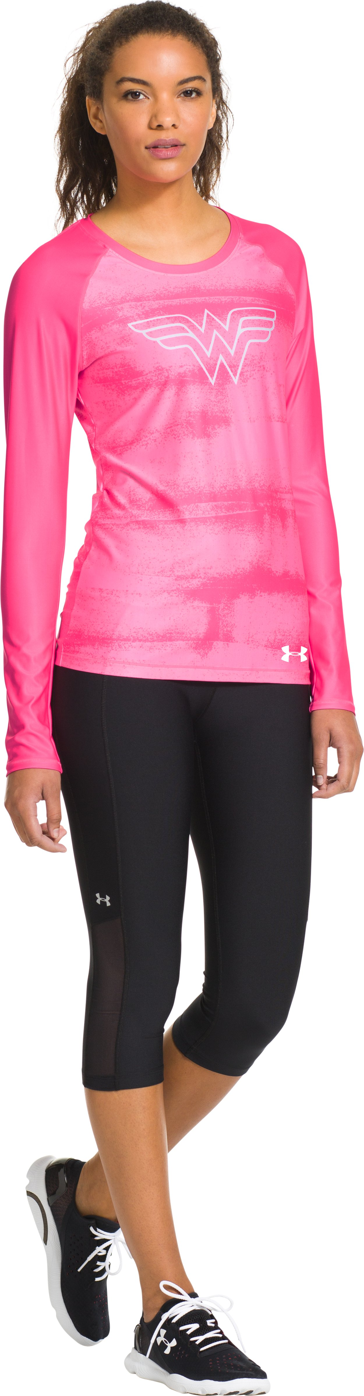 Women's UA HeatGear® Sonic Wonder Woman Long Sleeve, Cerise, Front