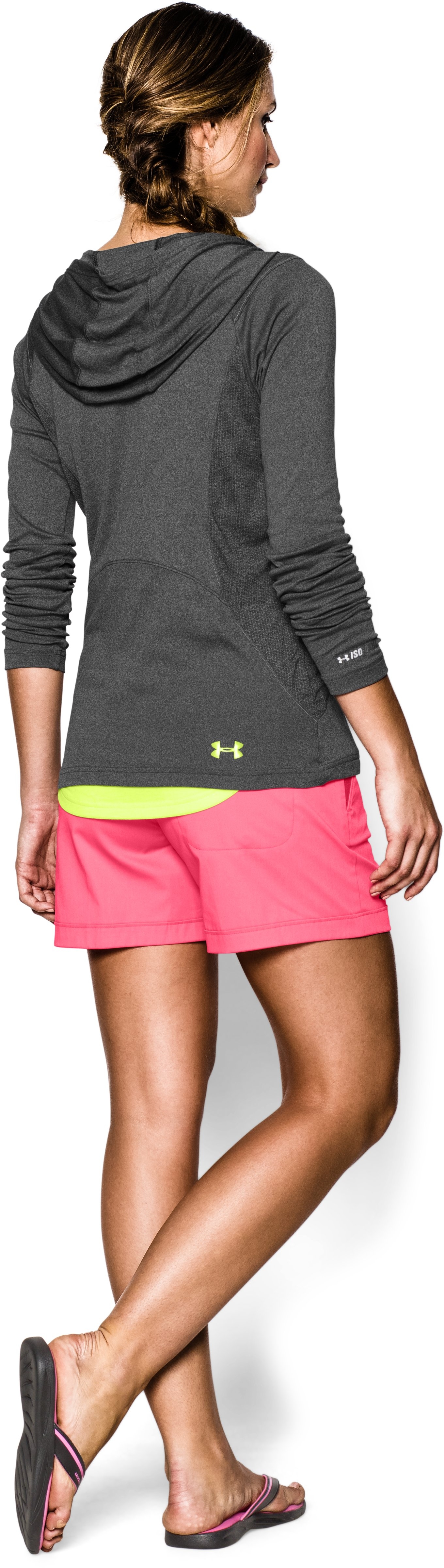 Women's UA Iso-Chill Meridian Hoody, Carbon Heather, Back