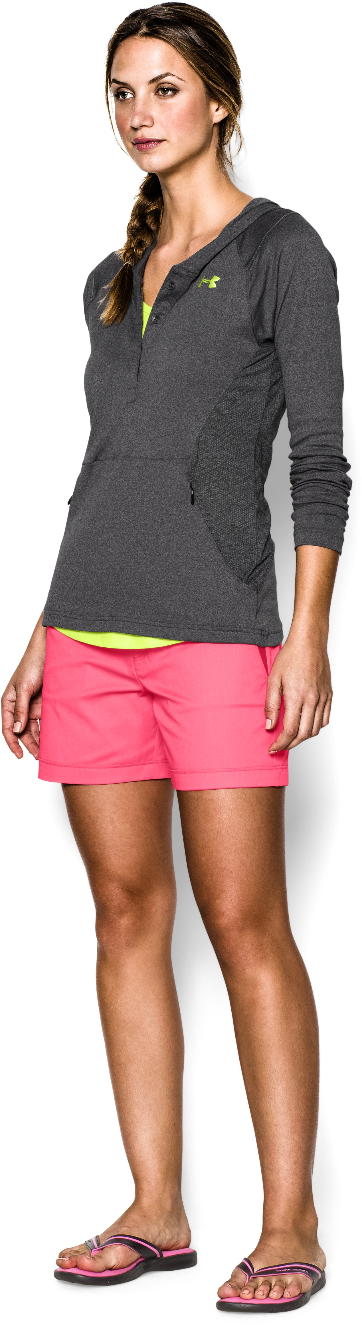 Women's UA Iso-Chill Meridian Hoody, Carbon Heather,