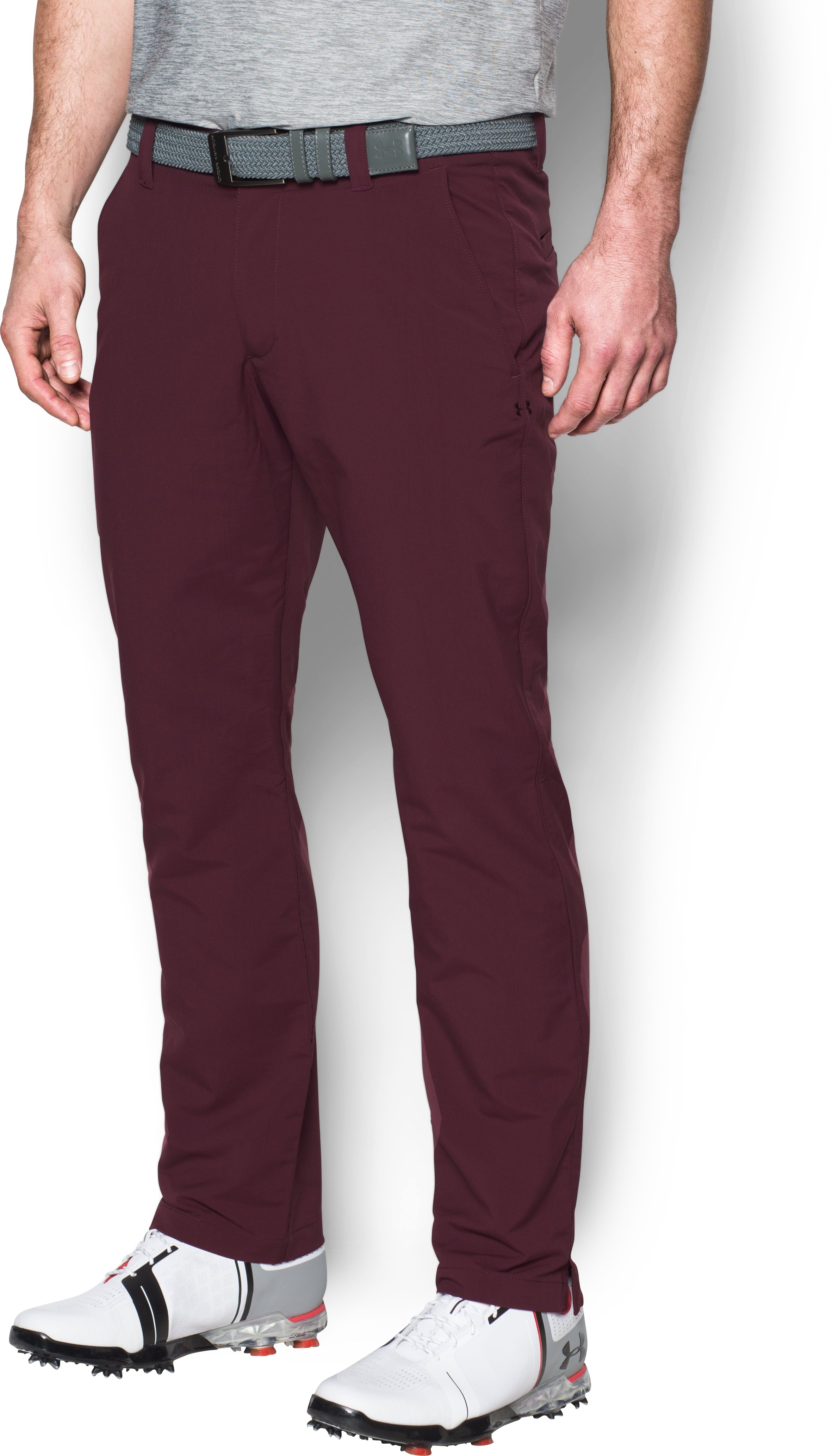 Men's UA Match Play Golf Pants Tapered, RAISIN RED,