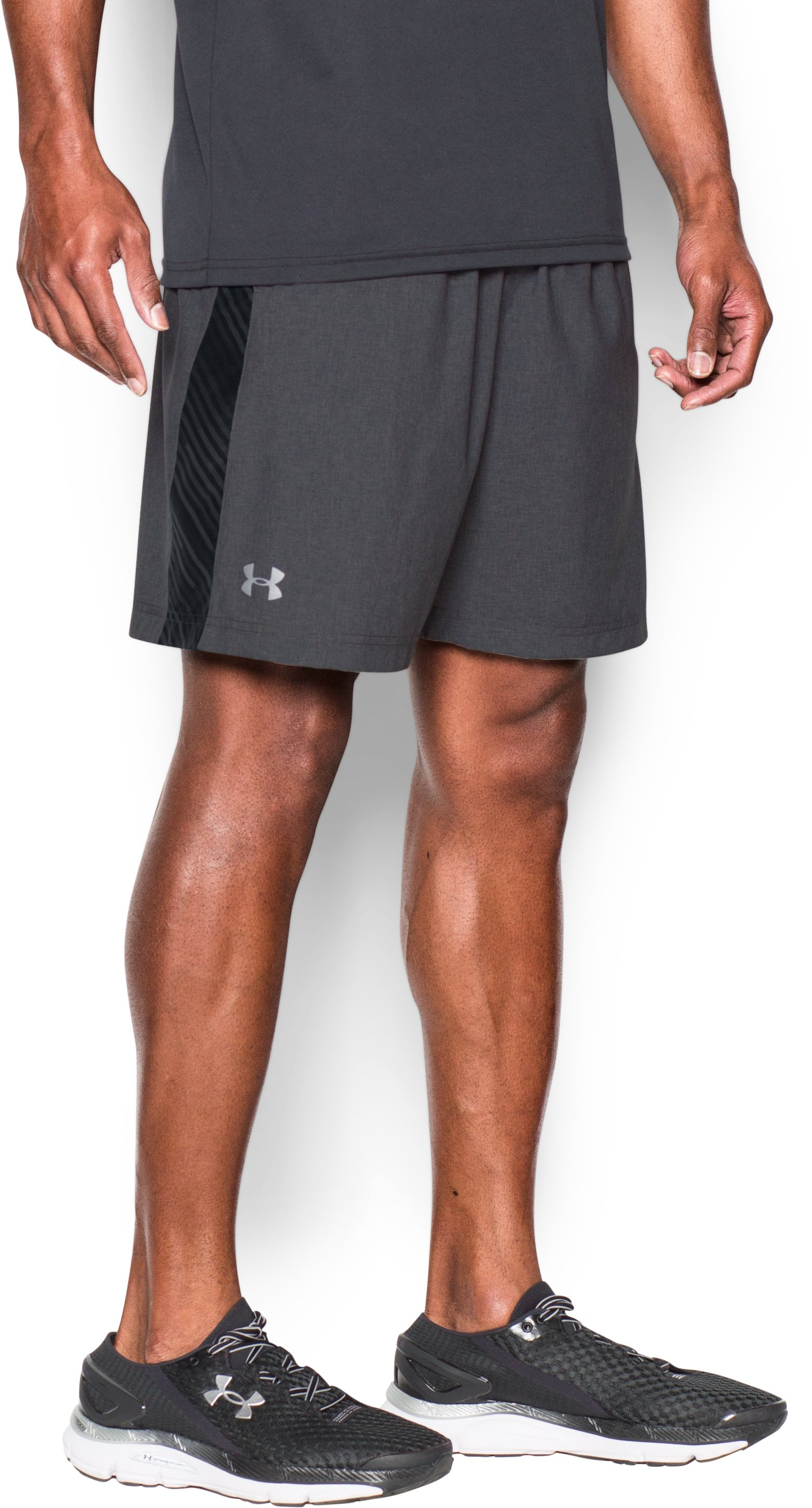 "Men's UA Launch Run 7"" Printed Shorts, Carbon Heather, zoomed image"