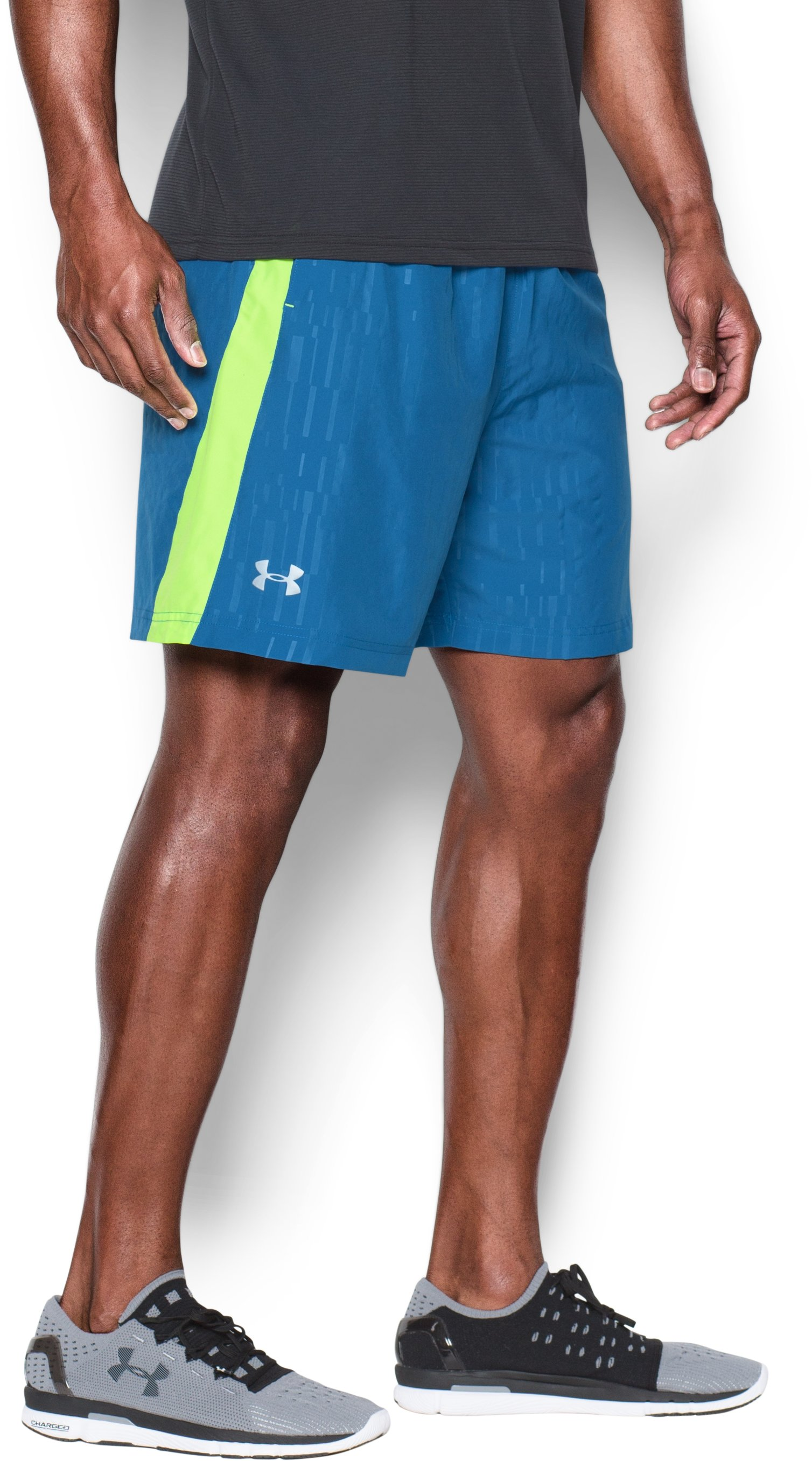 "Men's UA Launch Run 7"" Printed Shorts, Squadron, zoomed image"