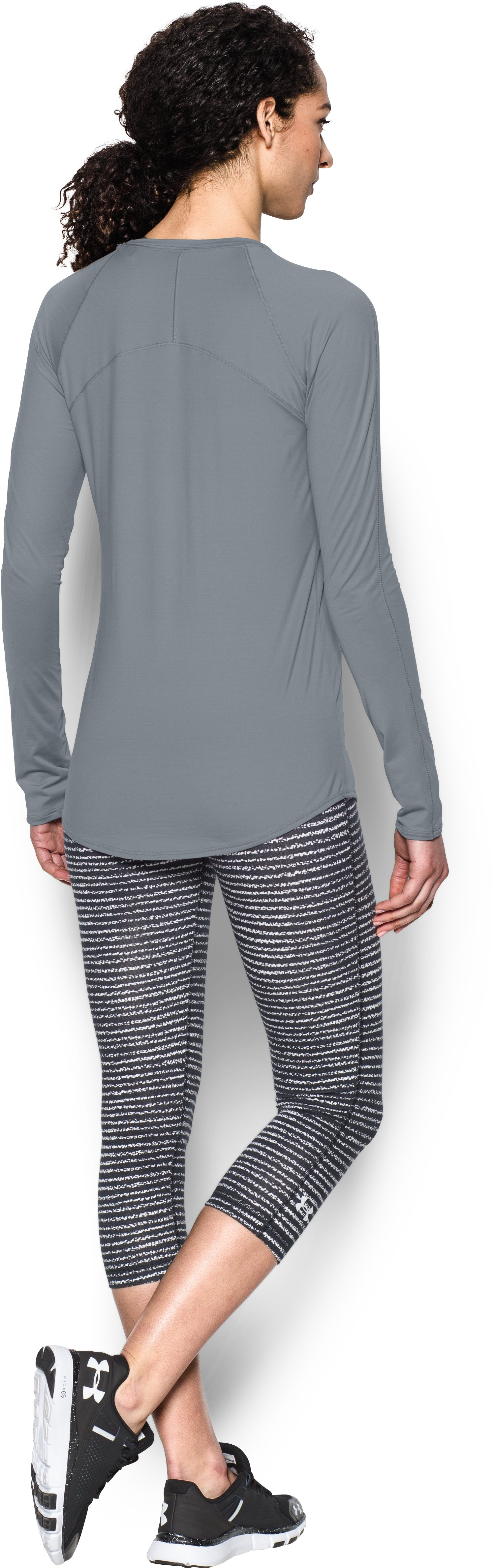 Women's UA Sunblock 50 Long Sleeve, Steel, Back