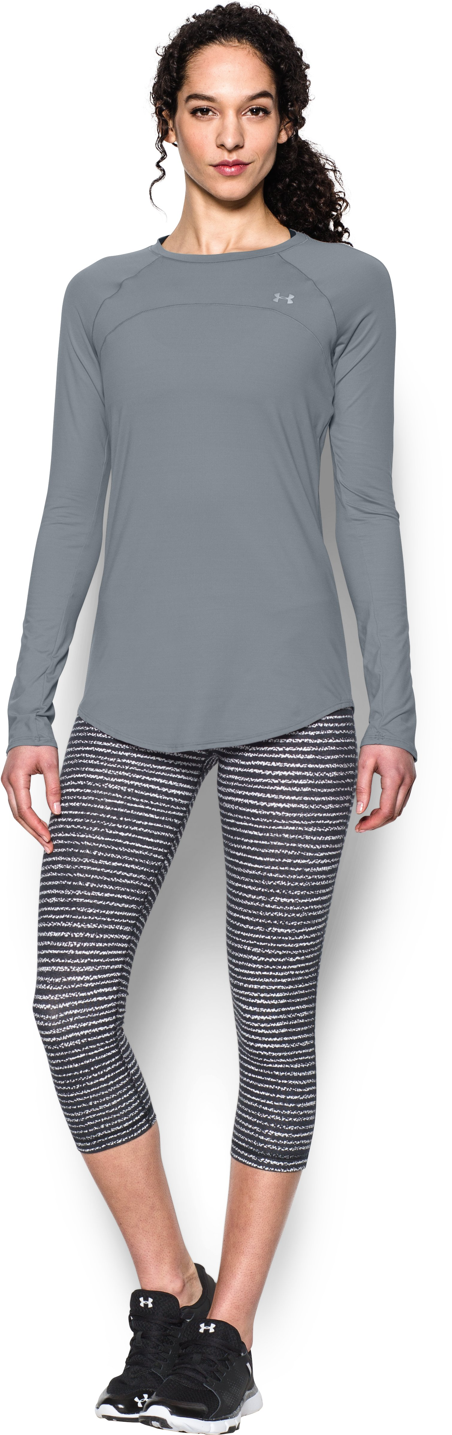 Women's UA Sunblock 50 Long Sleeve, Steel, Front