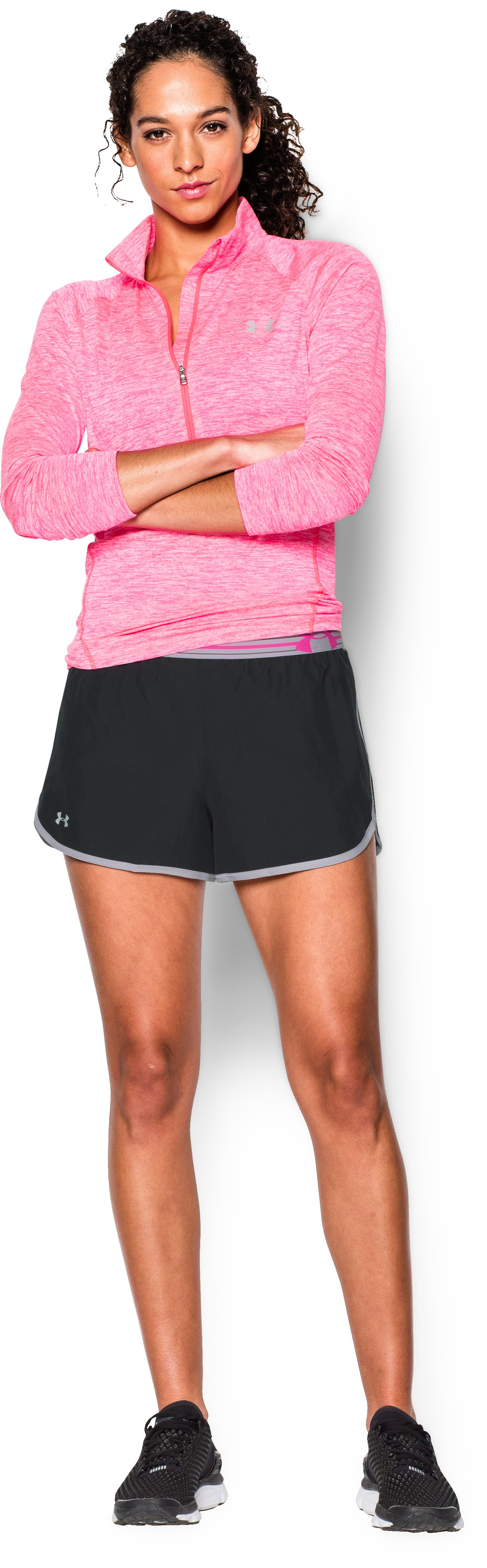 Women's UA Perfect Pace Short, Black , Front