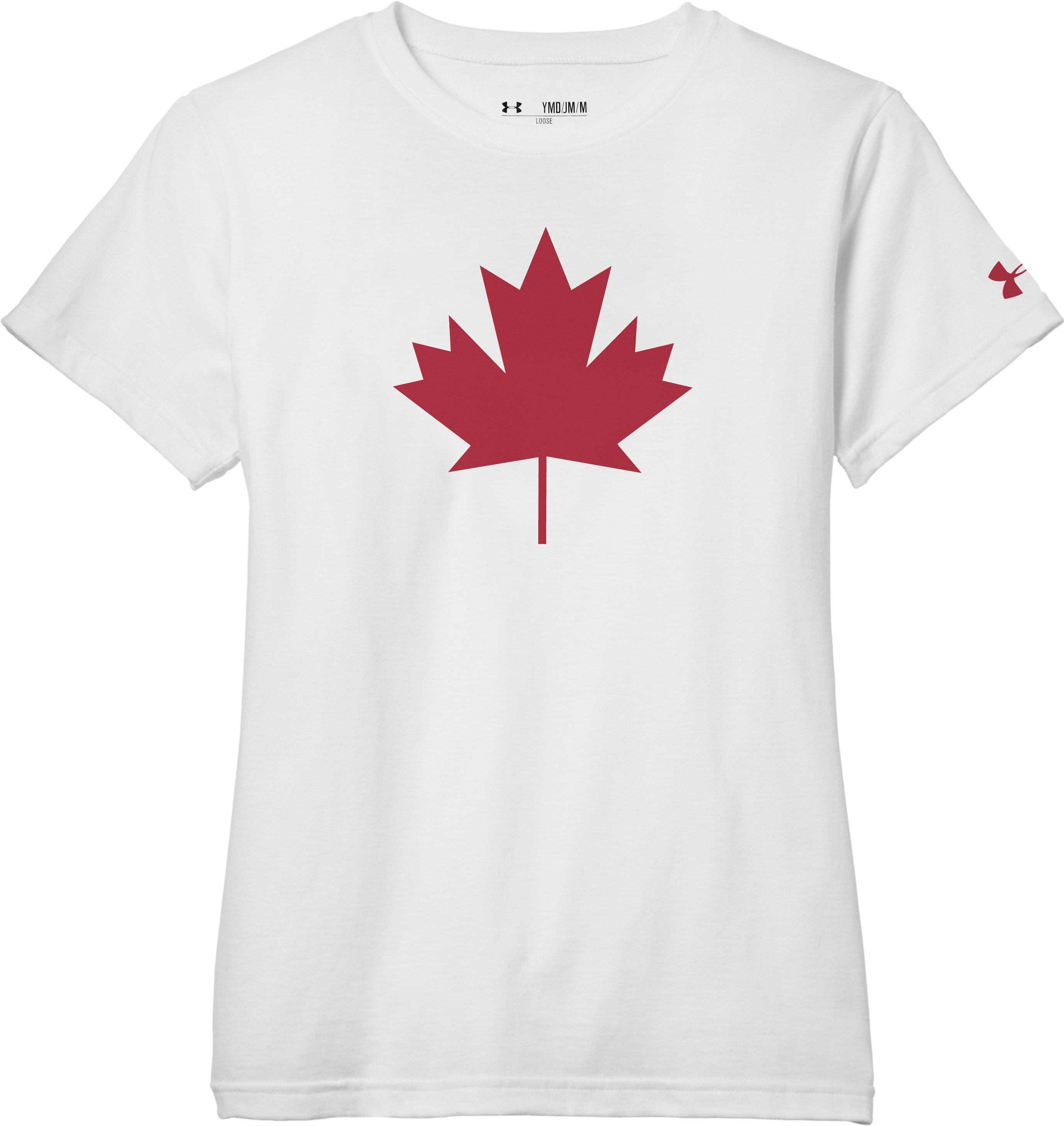 Girls' Canada Leaf T-Shirt, White, Laydown