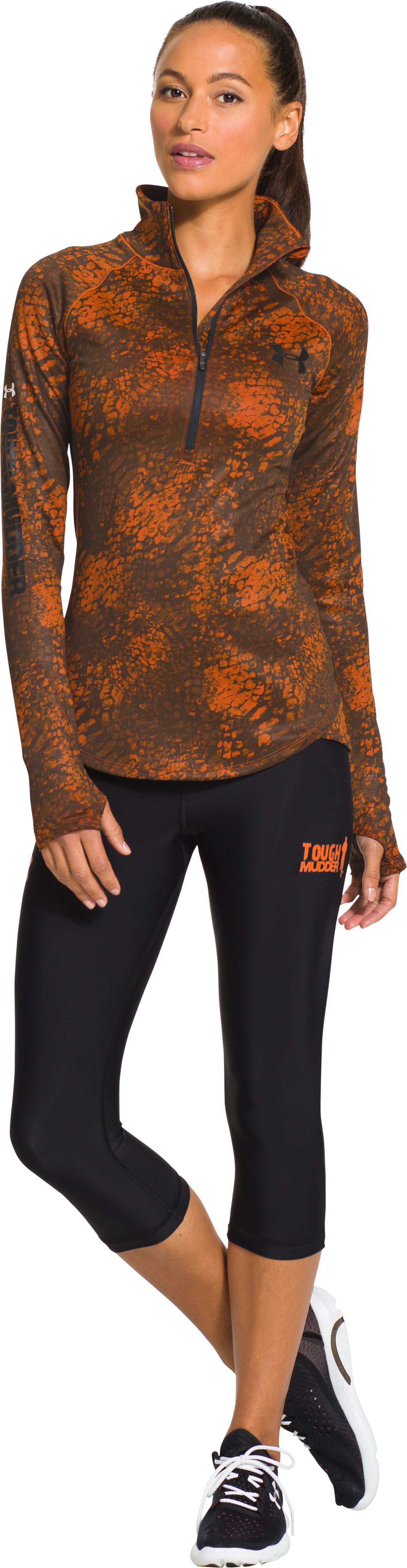 Women's Tough Mudder Printed UA Qualifier ½ Zip, GRANITE, Front
