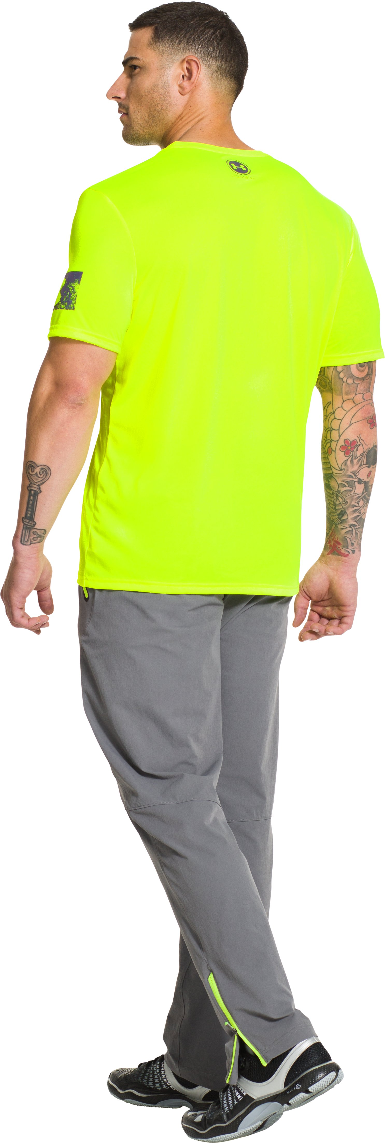 Men's UA Combine® Training Power In Numbers T-Shirt, High-Vis Yellow, Back
