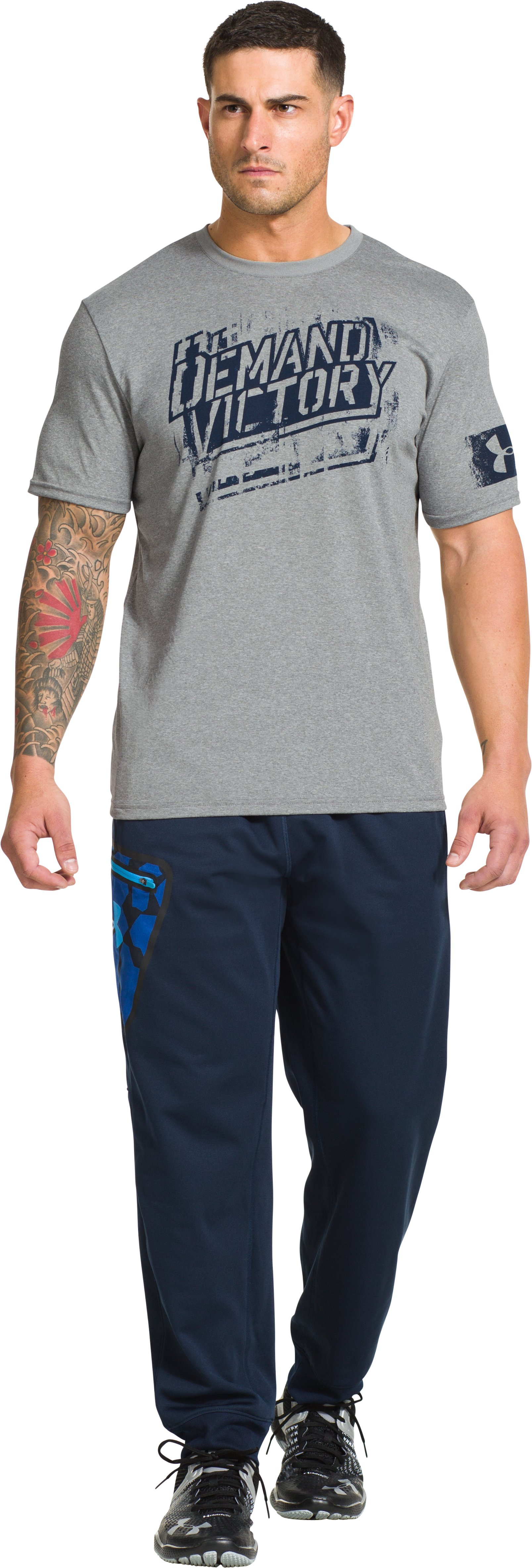 Men's UA Combine® Training Demand Victory T-Shirt, True Gray Heather, zoomed image