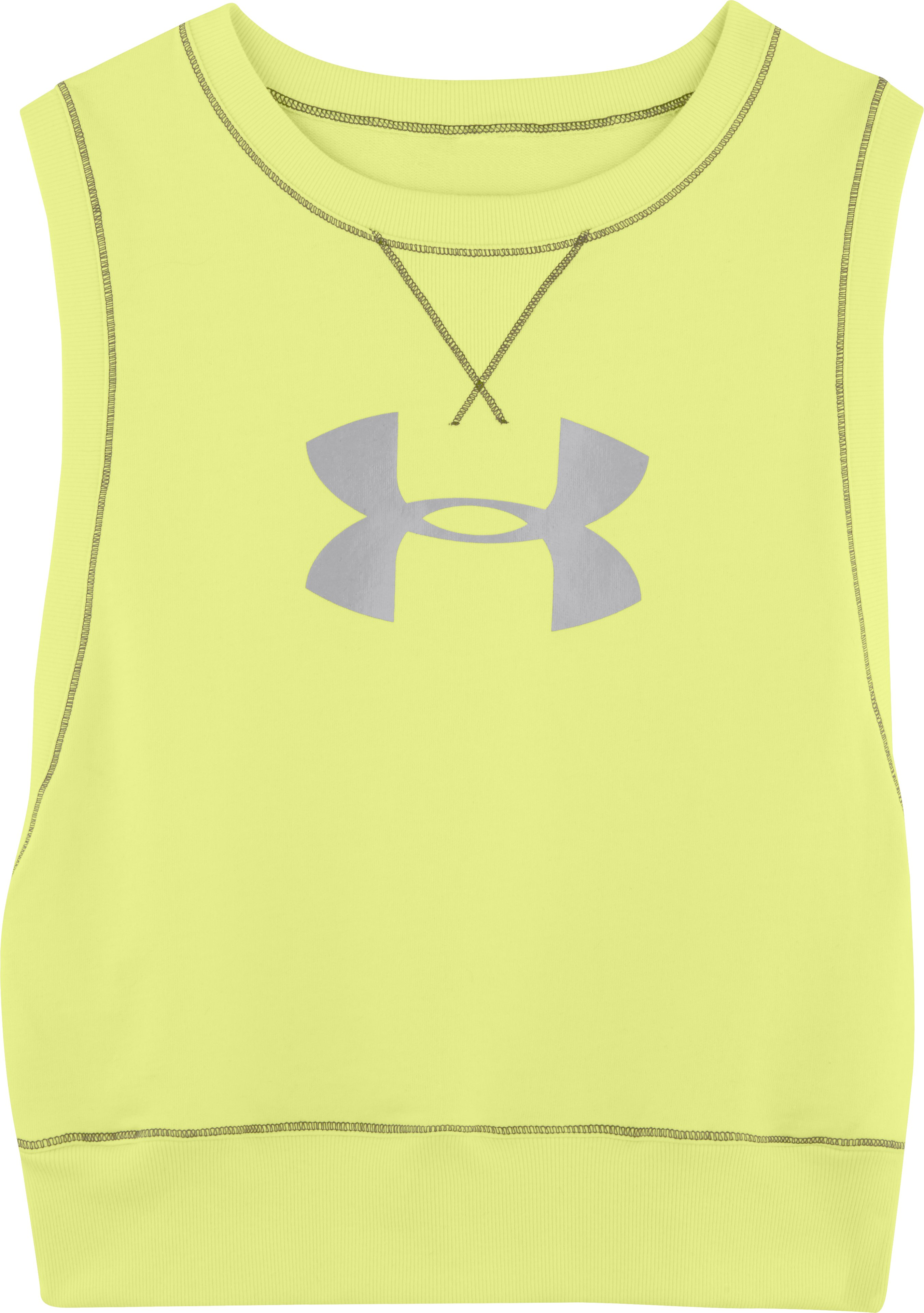 Women's UA Pretty Gritty French Terry Vest, SONIC YELLOW, Laydown