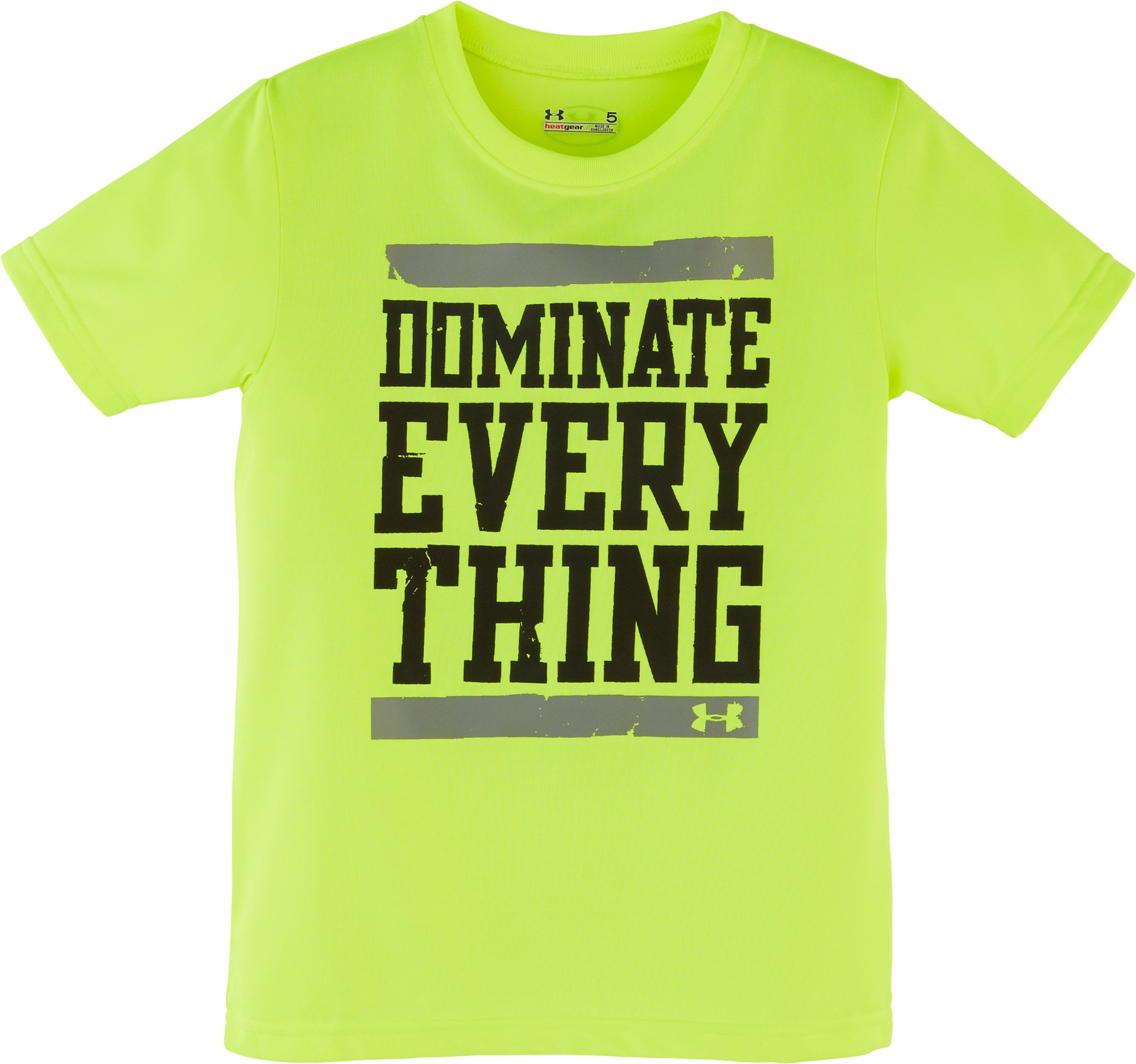 Boys' Pre-School UA Dominate Everything T-Shirt, High-Vis Yellow, Laydown