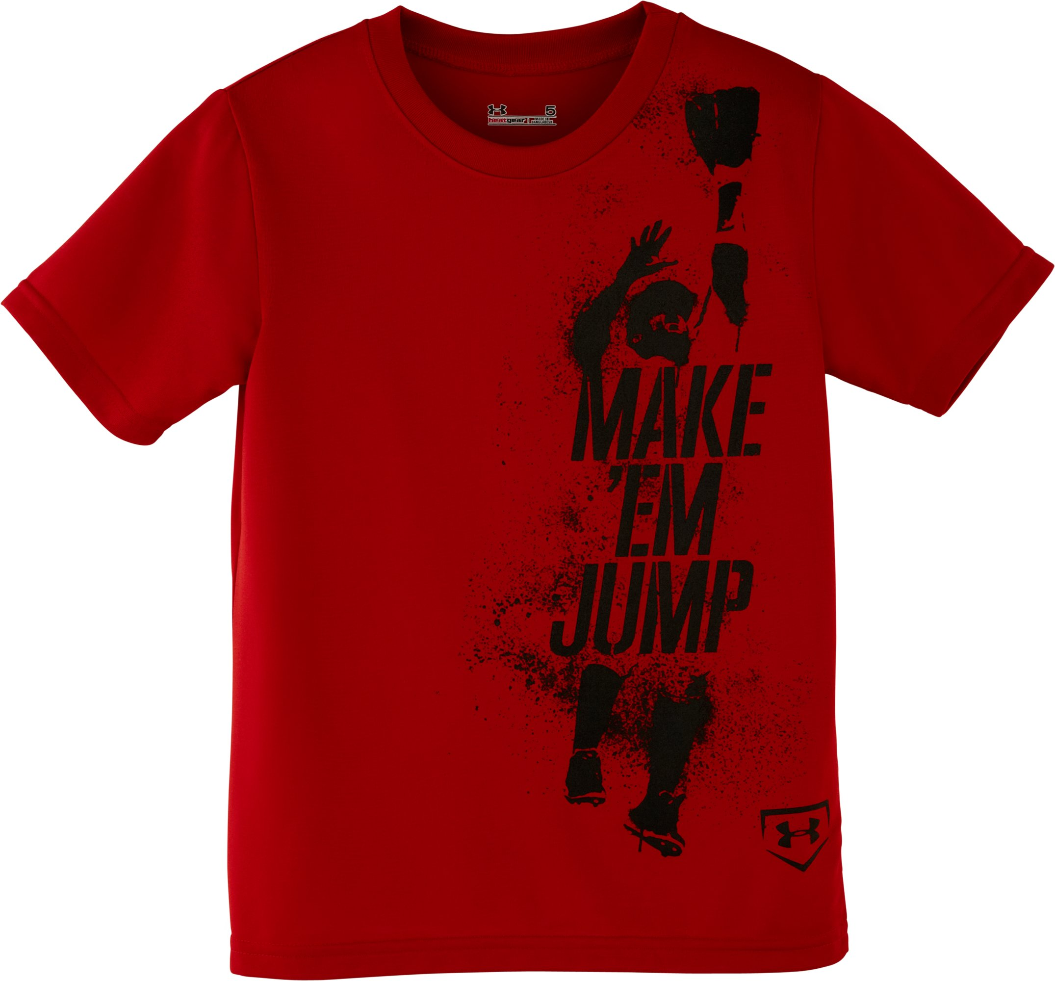 Boys' Pre-School UA Make Em Jump T-Shirt, Red, Laydown