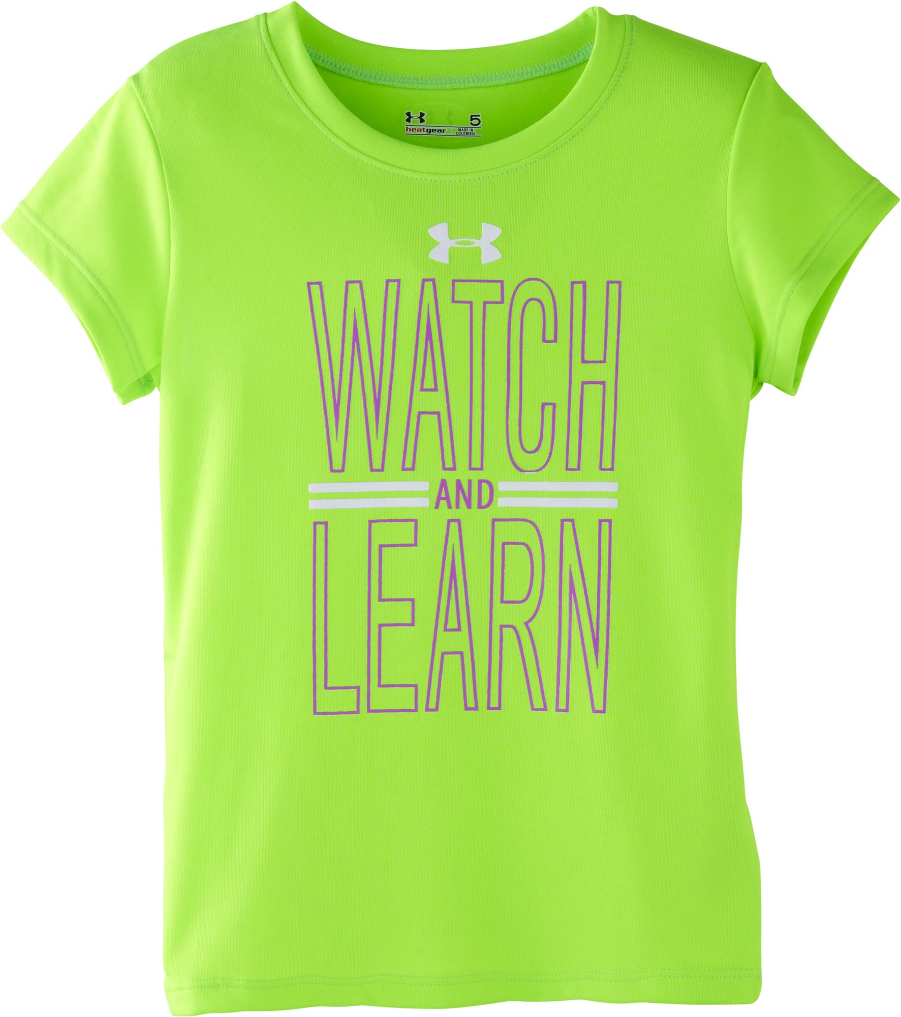 Girls' Pre-School UA Watch And Learn T-Shirt, HYPER GREEN, Laydown