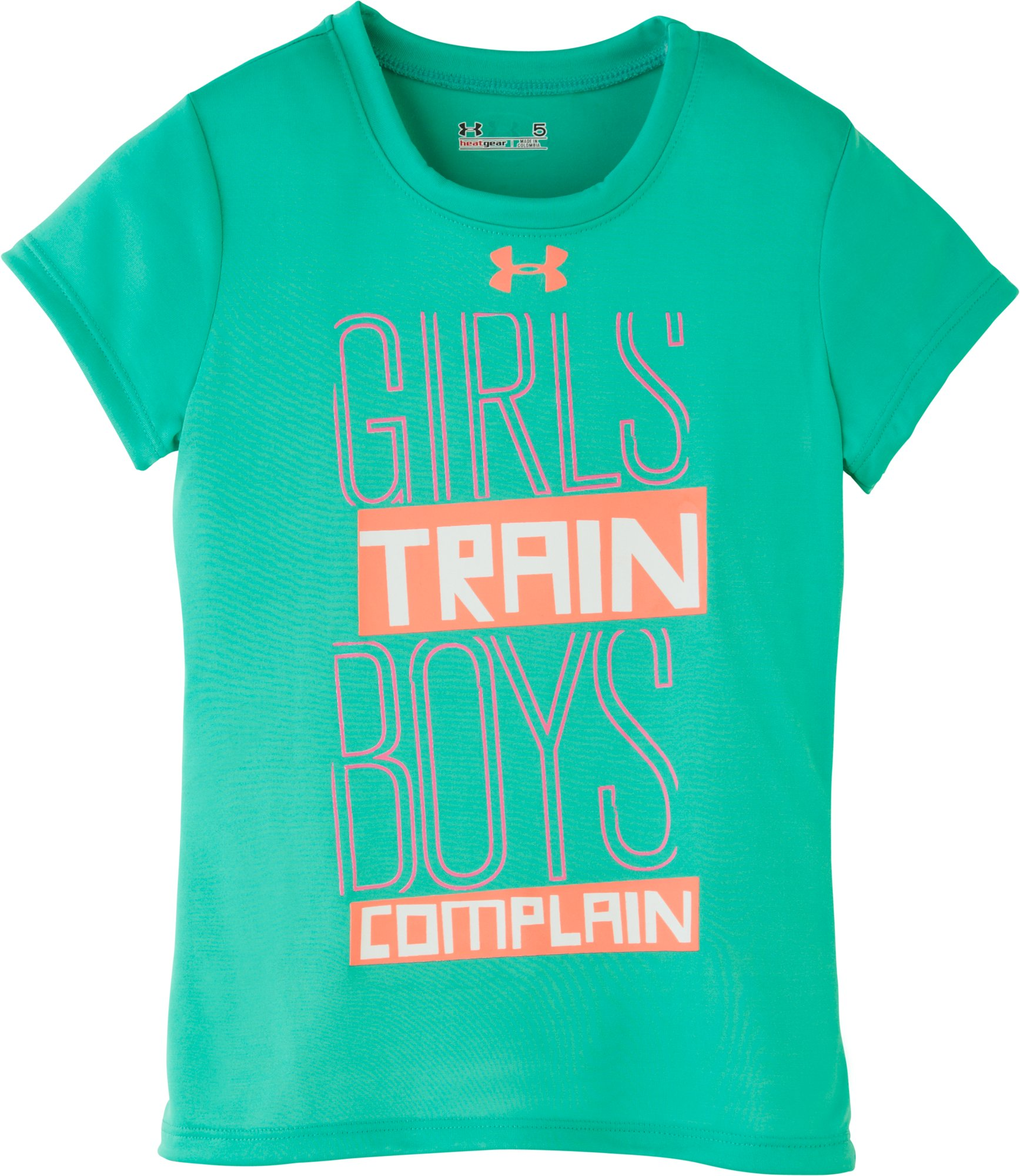 Girls' Pre-School UA Girls Train T-Shirt, EMERALD LAKE, Laydown