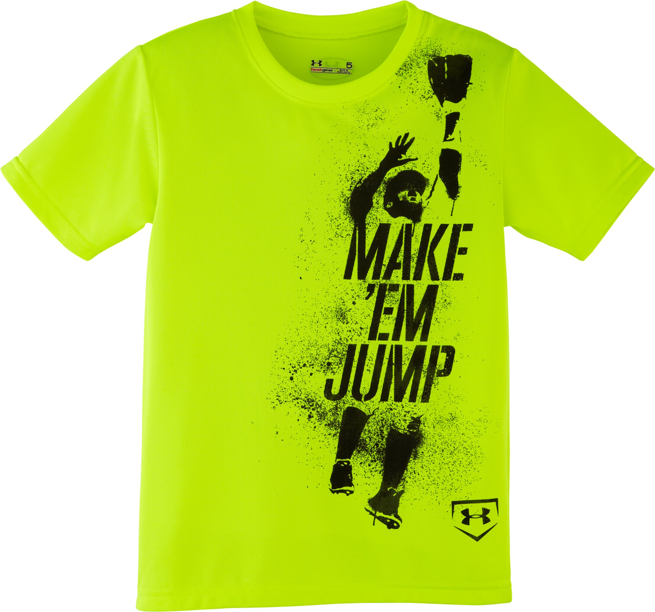 Boys' Toddler UA Make Em Jump T-Shirt, High-Vis Yellow, Laydown