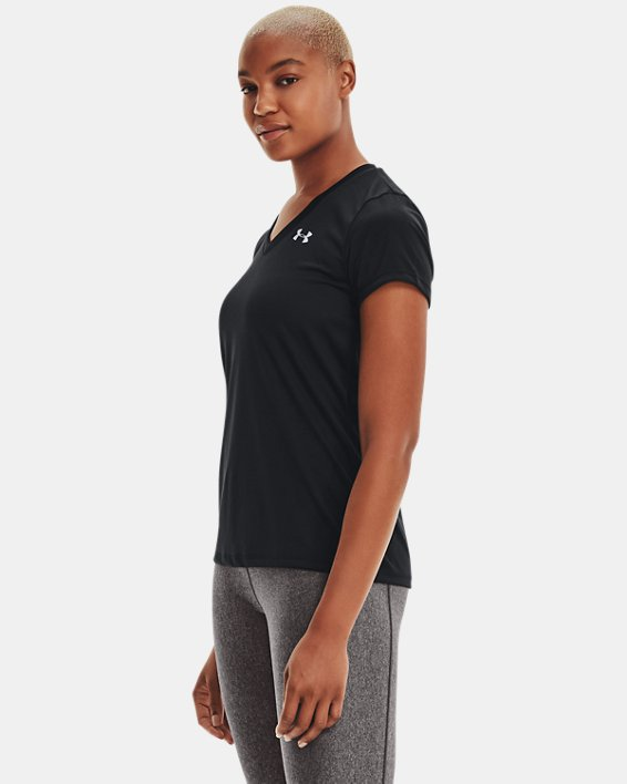 Women's UA Tech™ V-Neck, Black, pdpMainDesktop image number 2