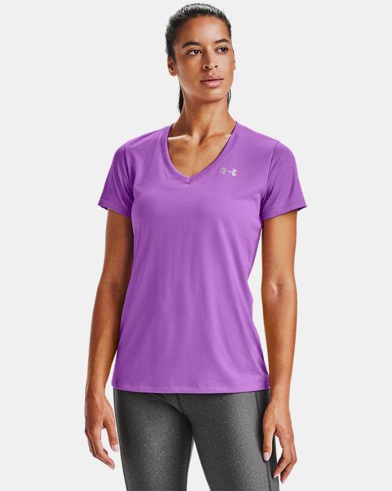 T-shirt en V UA Tech™ pour femme, Purple, pdpMainDesktop image number 0