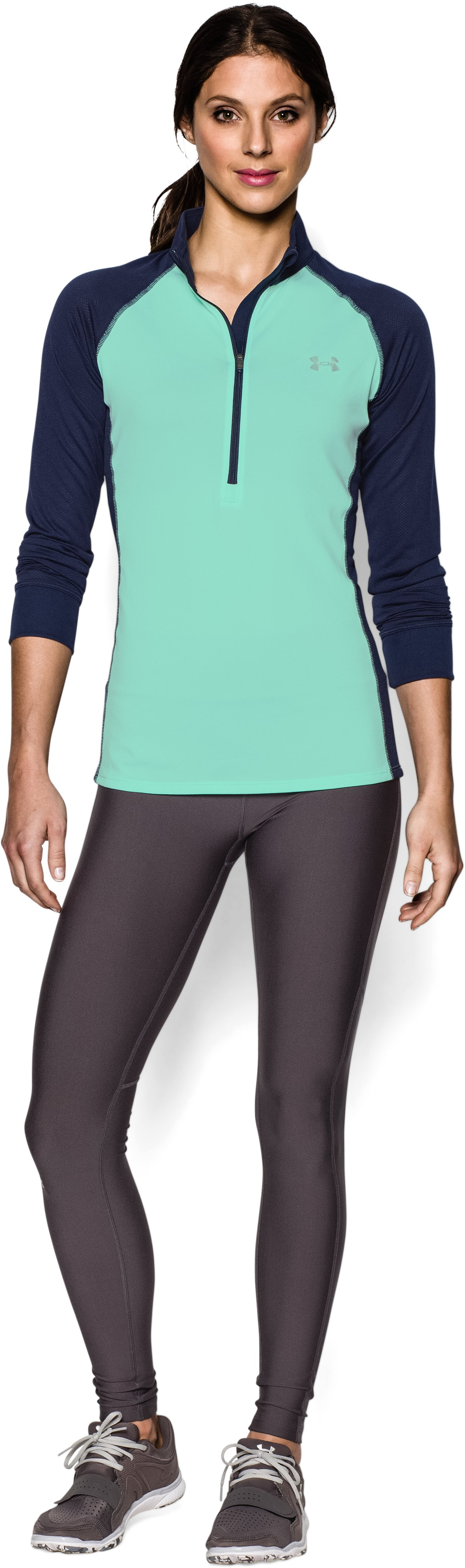 Women's UA Tech™ ½ Zip, CRYSTAL, Front