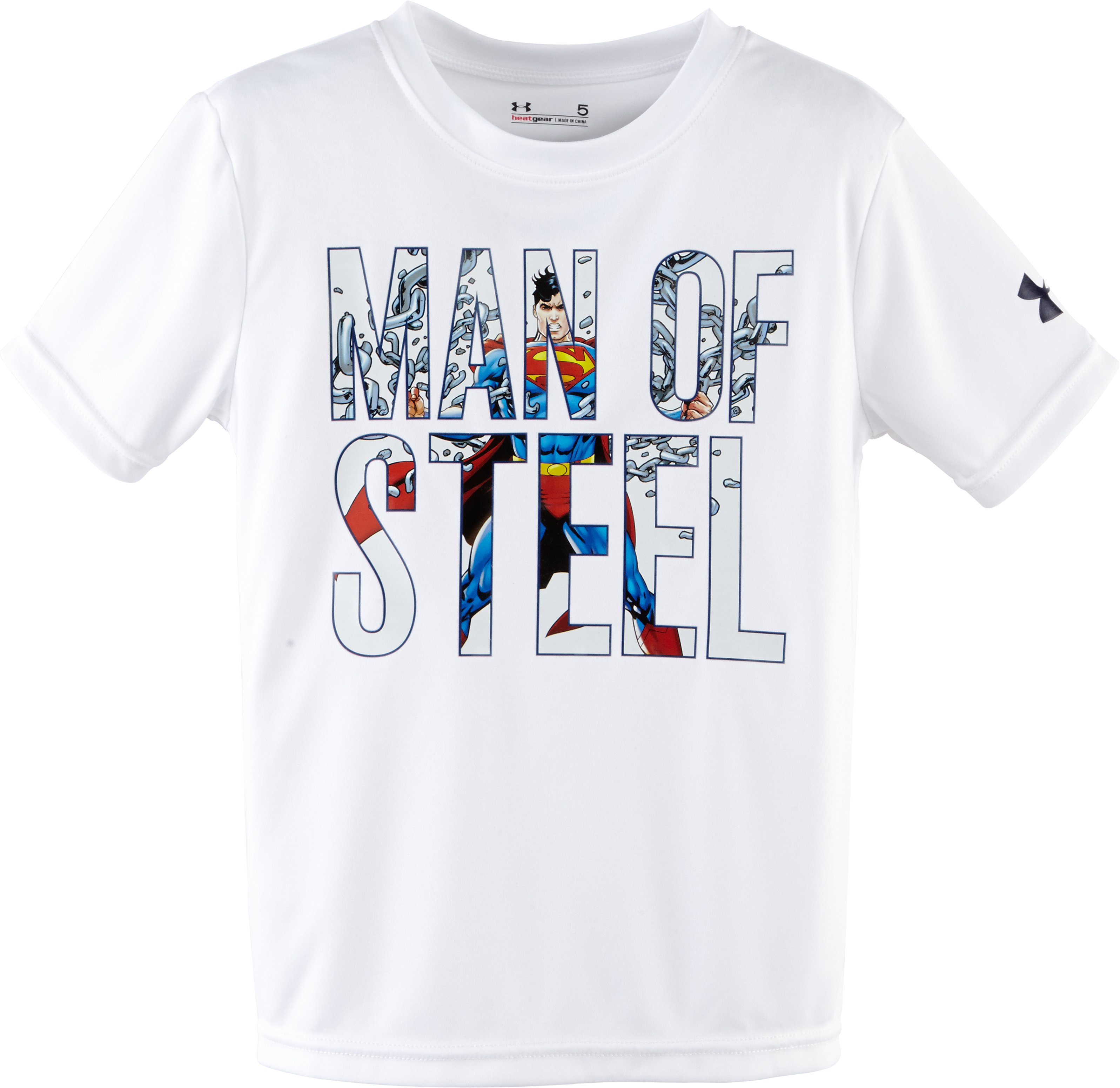 Boys' Pre-School Under Armour® Alter Ego Man Of Steel T-Shirt, White, Laydown