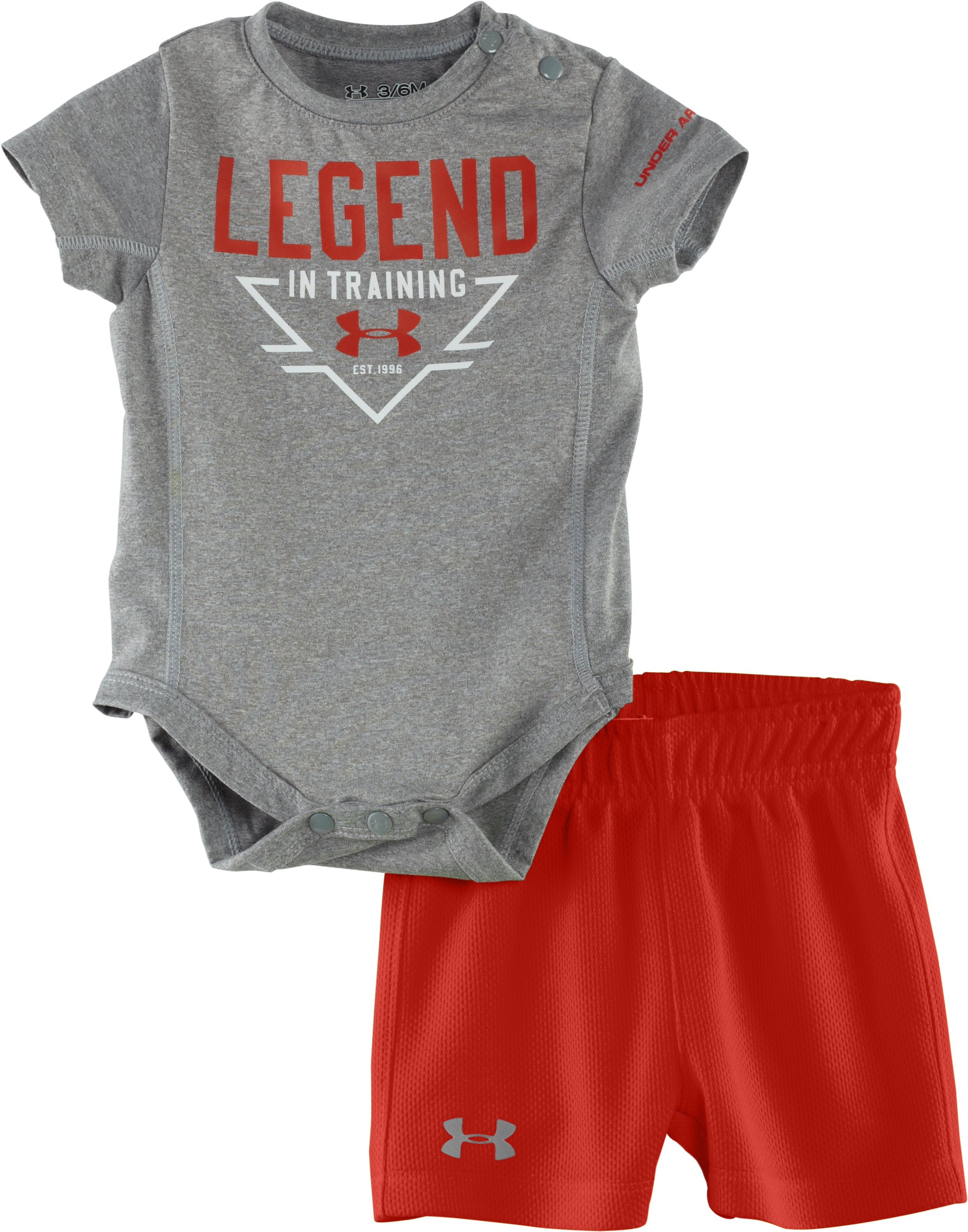 Boys' Newborn UA Legend In Training 2-Piece Set, True Gray Heather, zoomed image