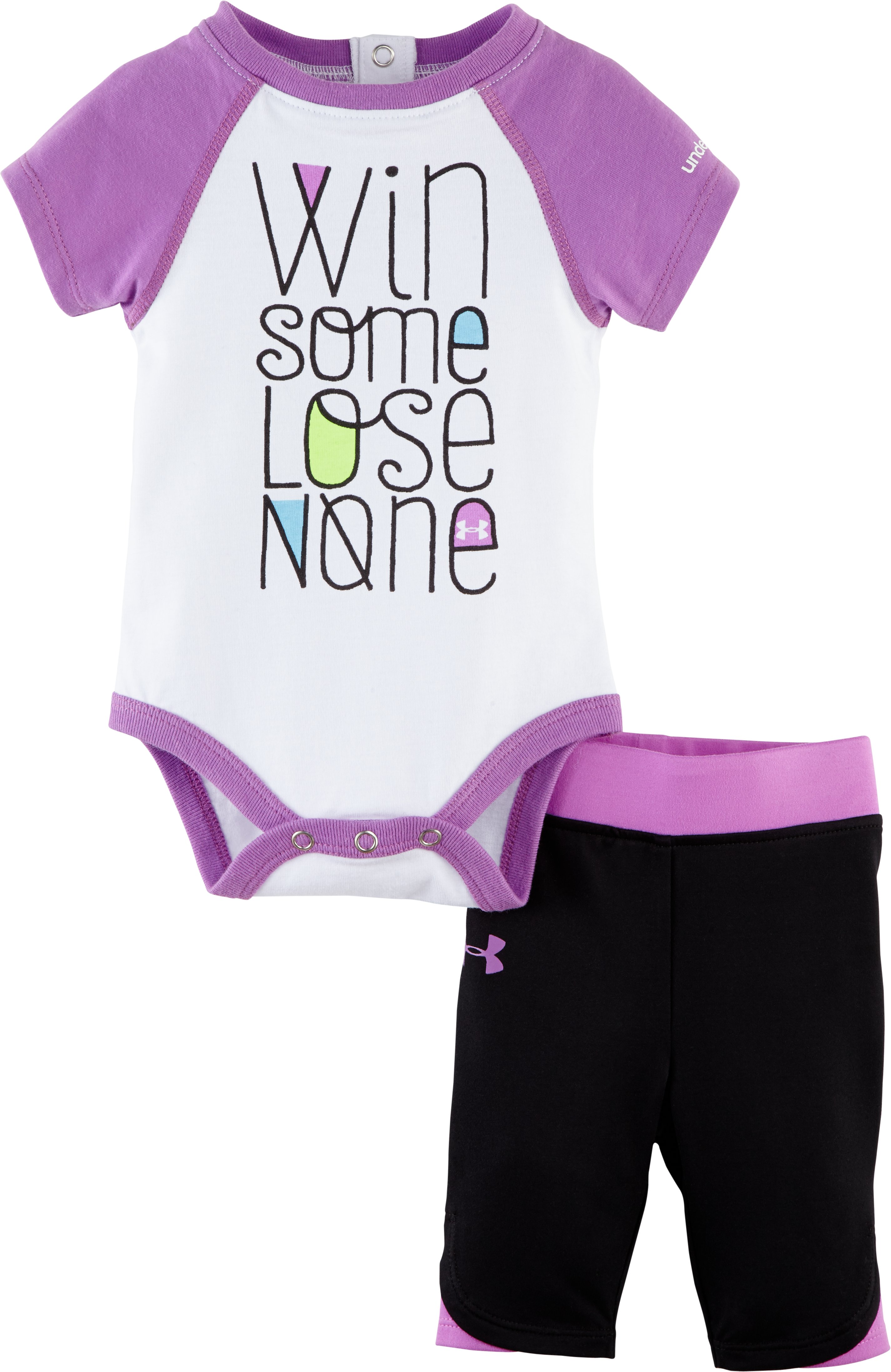 Girls' Newborn UA Win Some Lose None Capri Set, EXOTIC BLOOM, Laydown