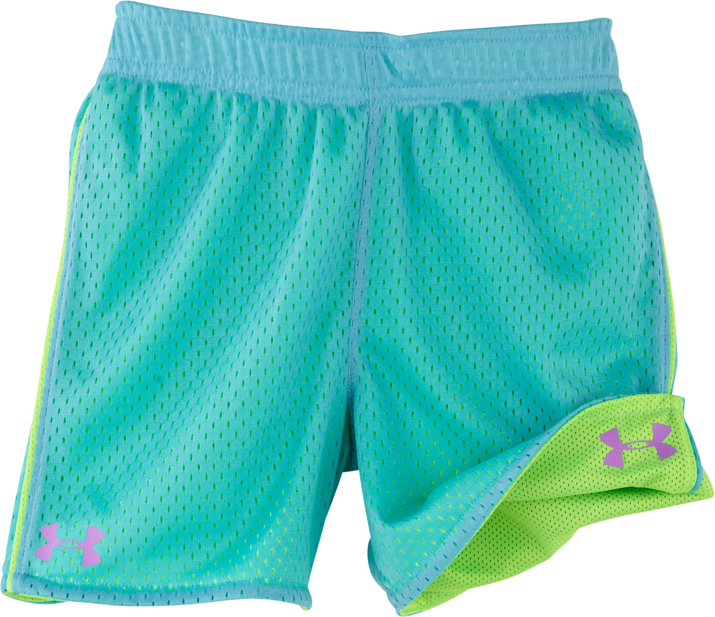 Girls' Toddler UA Reversible Shorts, HYPER GREEN, Laydown