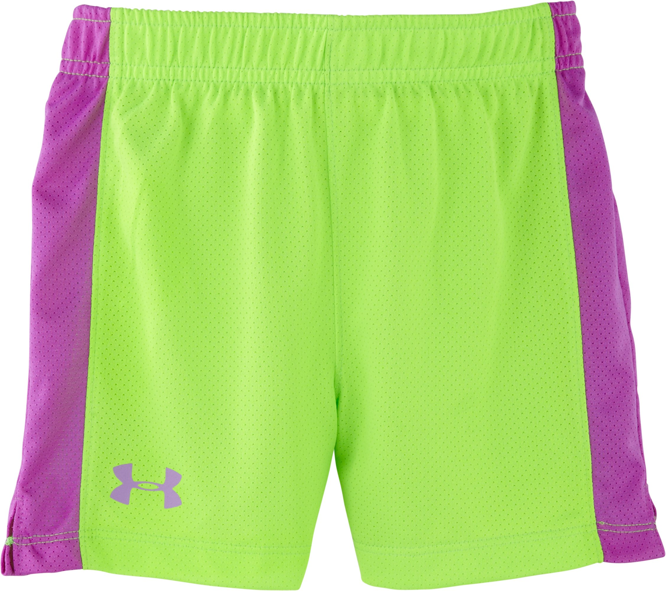 Girls' Infant UA Pinhole Mesh Shorts, HYPER GREEN, Laydown