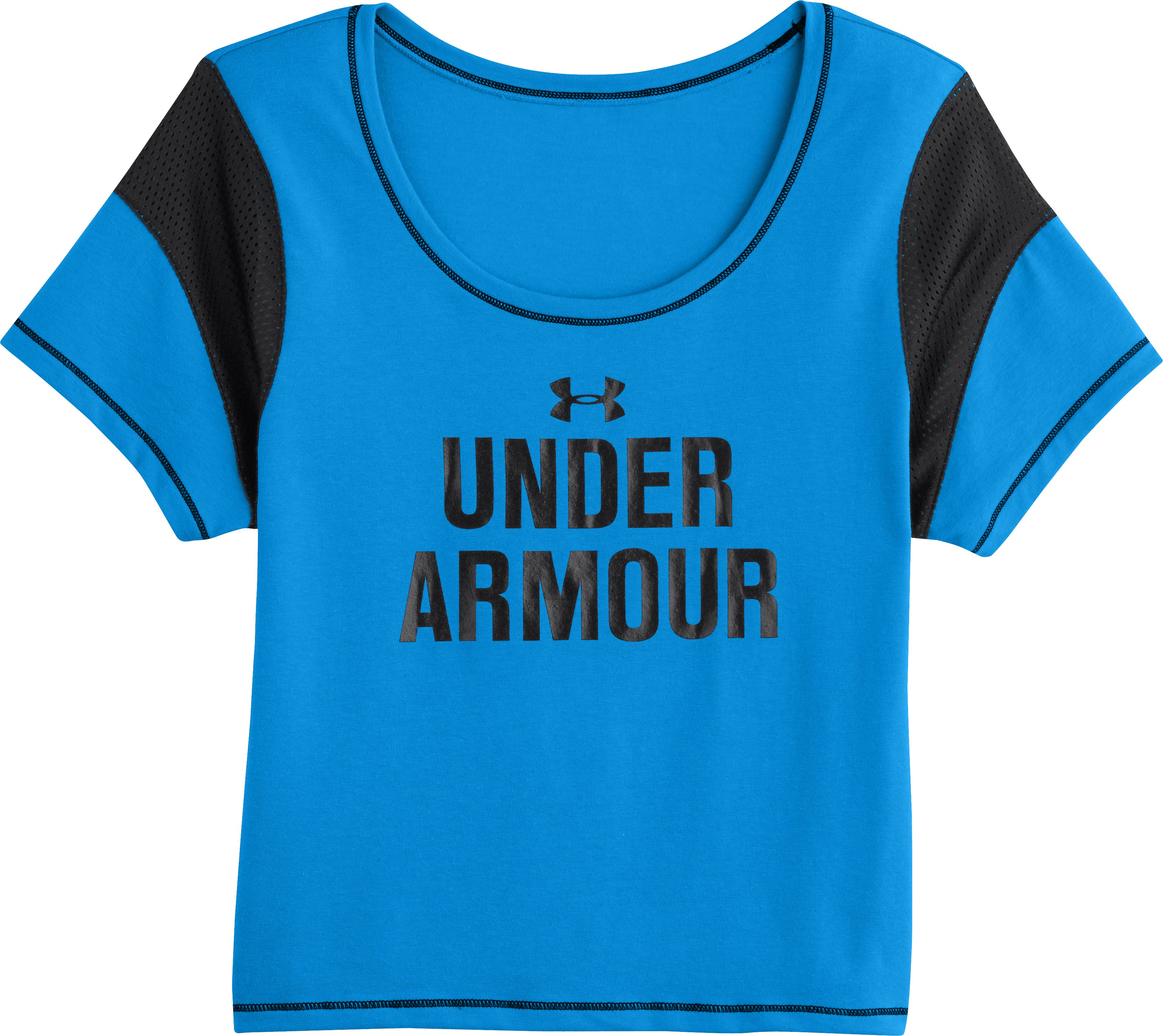 Women's UA Pretty Gritty Word mark T-Shirt, ELECTRIC BLUE, Laydown