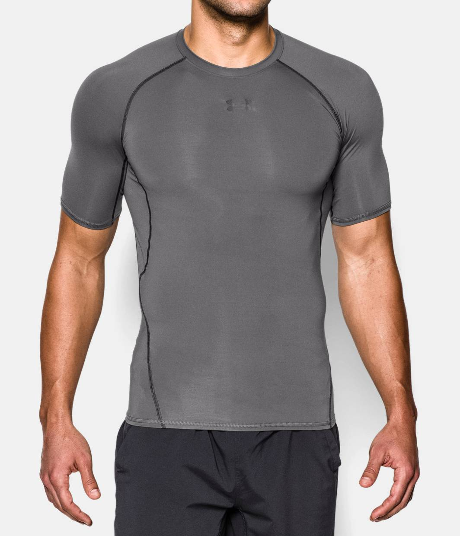 Men 39 s ua heatgear armour short sleeve compression shirt for Under armour half sleeve shirt