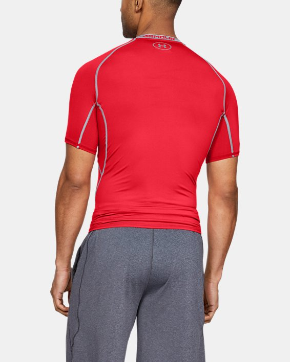 Men's UA HeatGear® Armour Short Sleeve Compression Shirt, Red, pdpMainDesktop image number 4