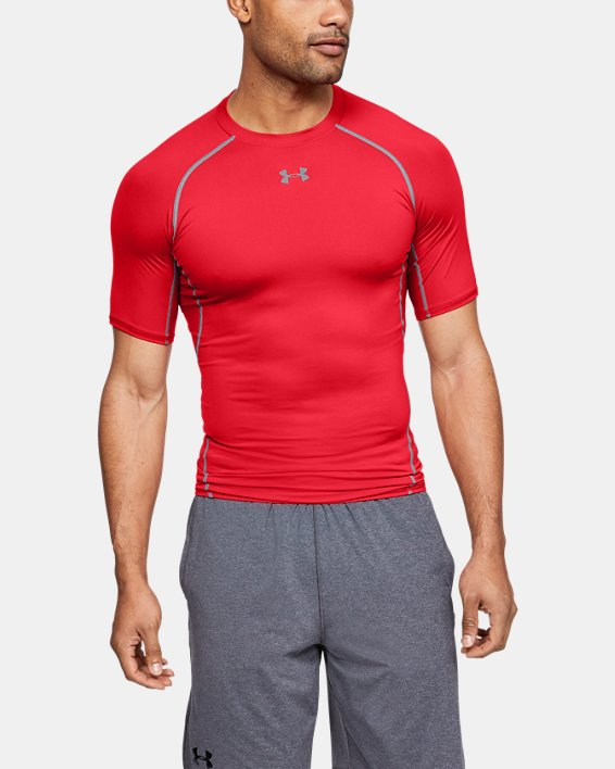 Men's UA HeatGear® Armour Short Sleeve Compression Shirt, Red, pdpMainDesktop image number 0