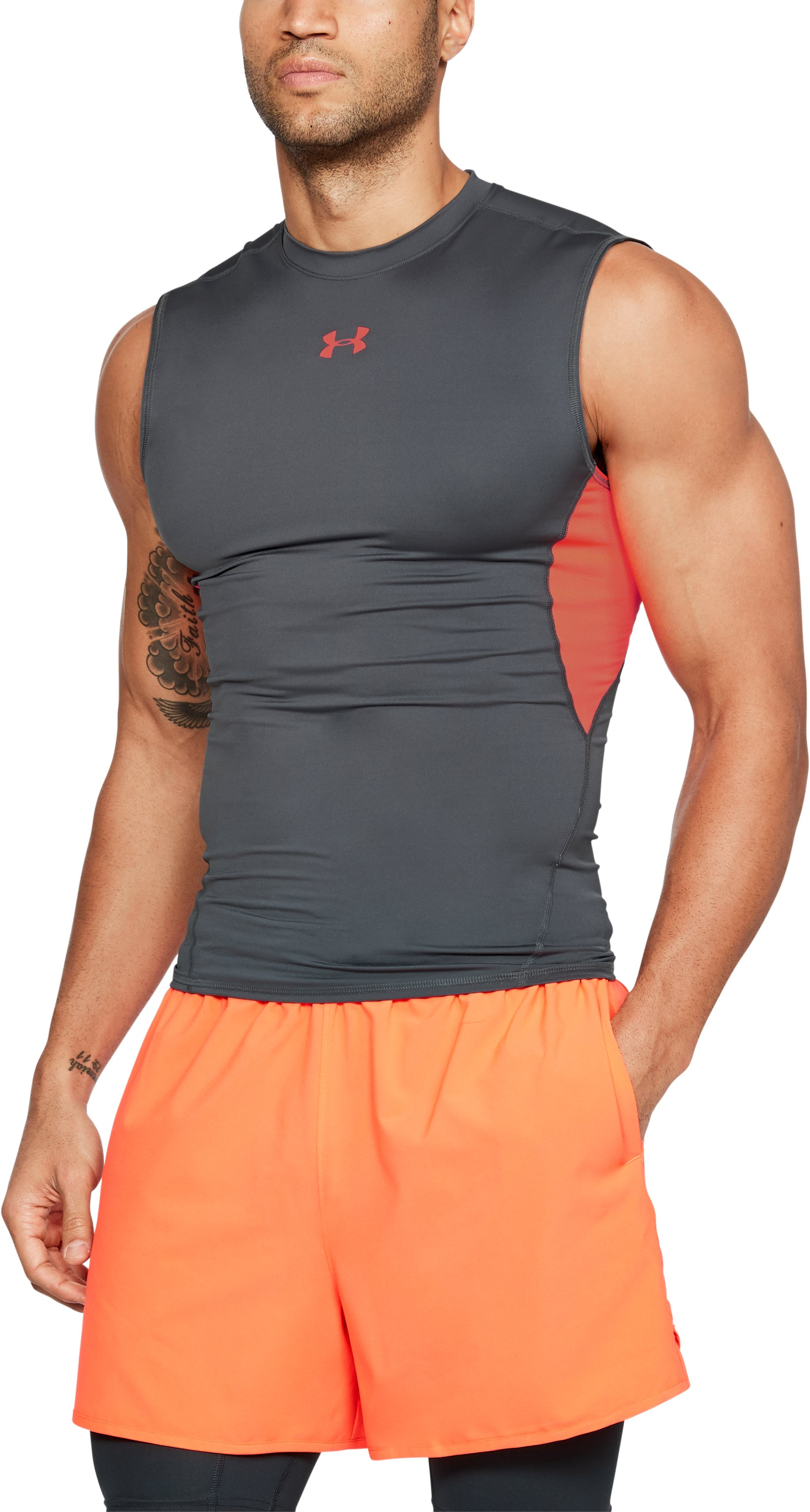 Men's UA HeatGear® Armour Sleeveless Compression Shirt, RHINO GRAY