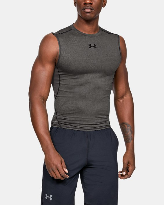 Men's UA HeatGear® Armour Sleeveless Compression Shirt, Gray, pdpMainDesktop image number 0