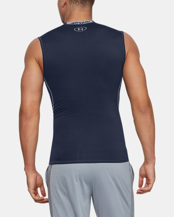 Men's UA HeatGear® Armour Sleeveless Compression Shirt, Navy, pdpMainDesktop image number 4